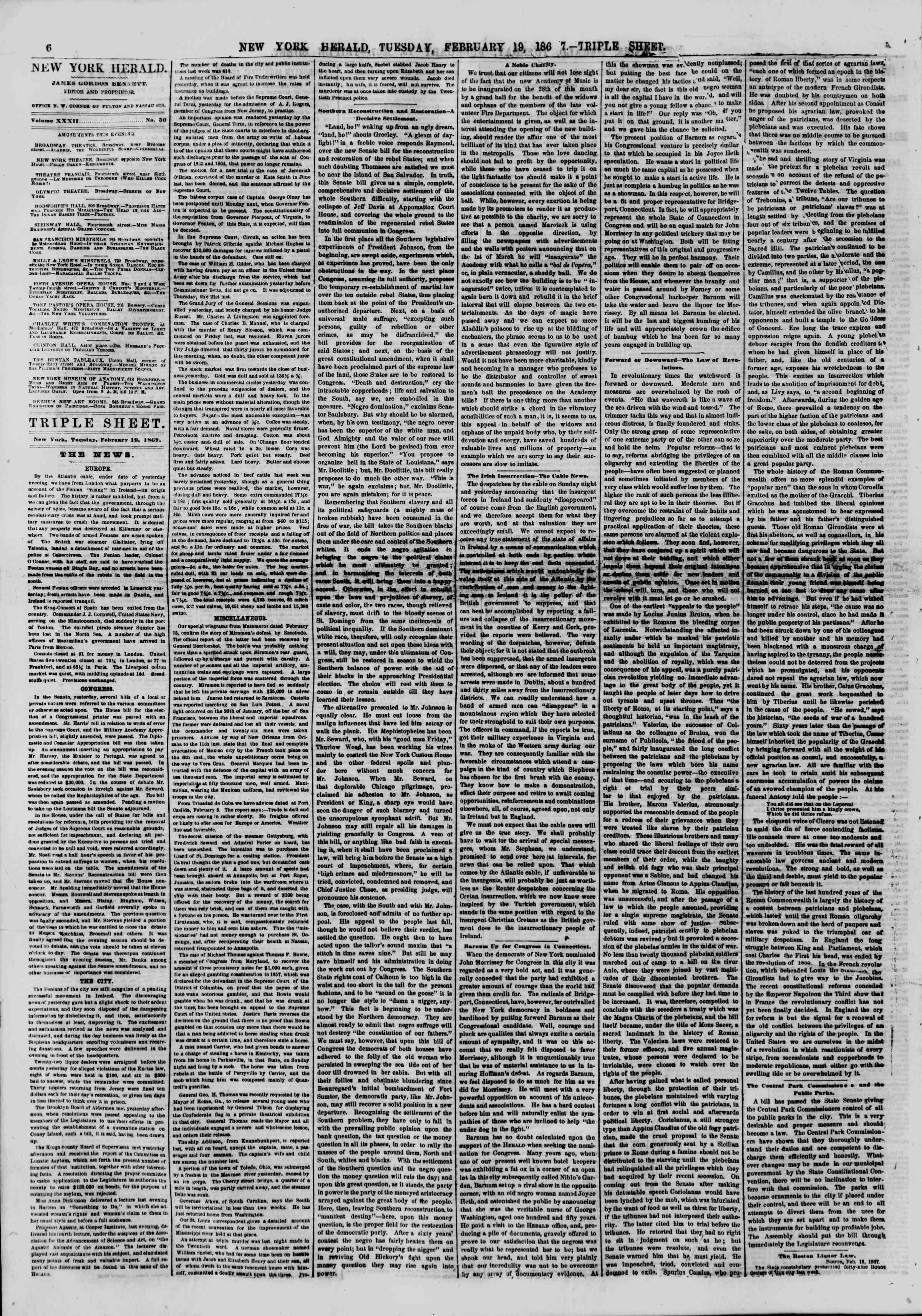 Newspaper of The New York Herald dated February 19, 1867 Page 6