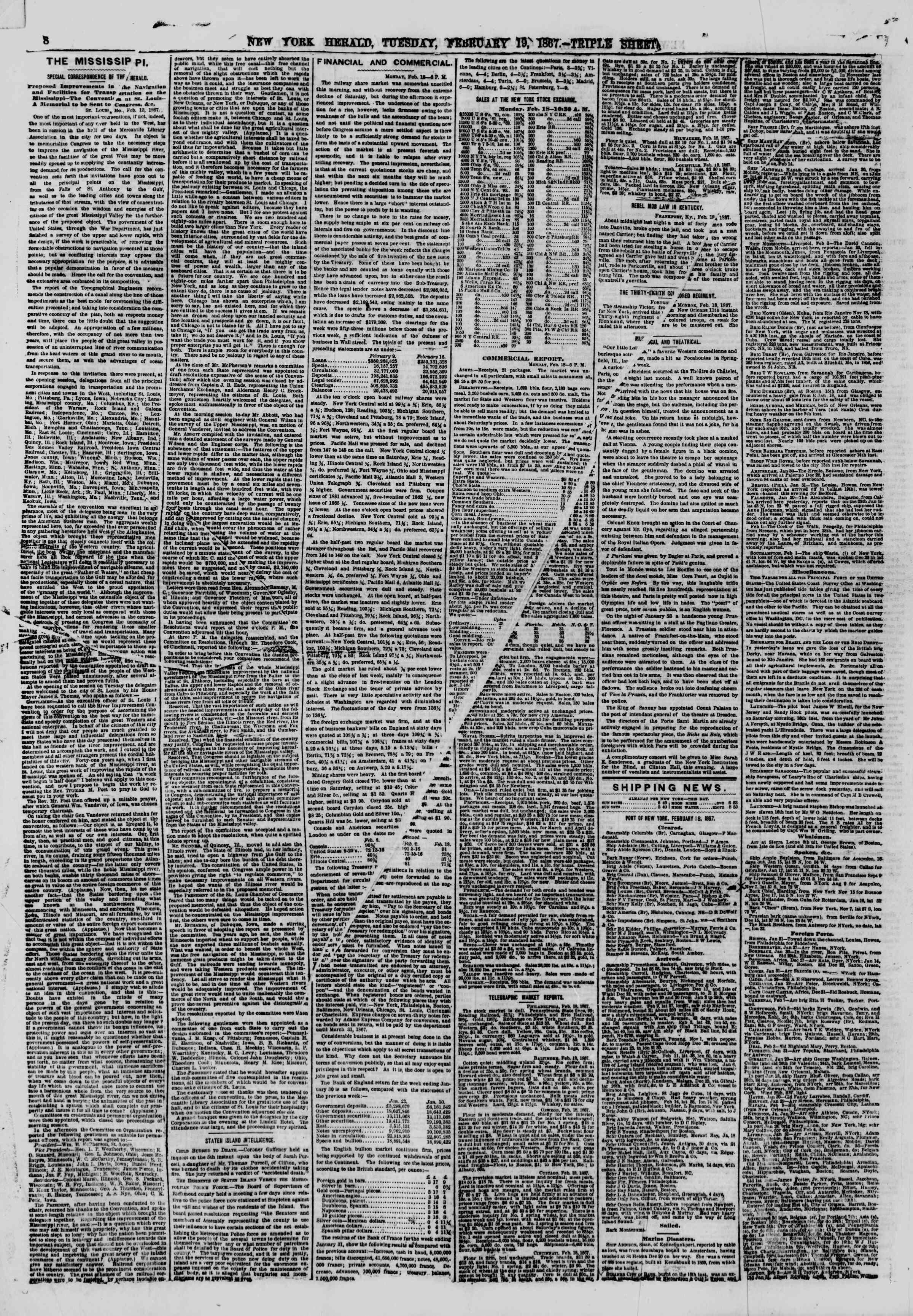 Newspaper of The New York Herald dated February 19, 1867 Page 8