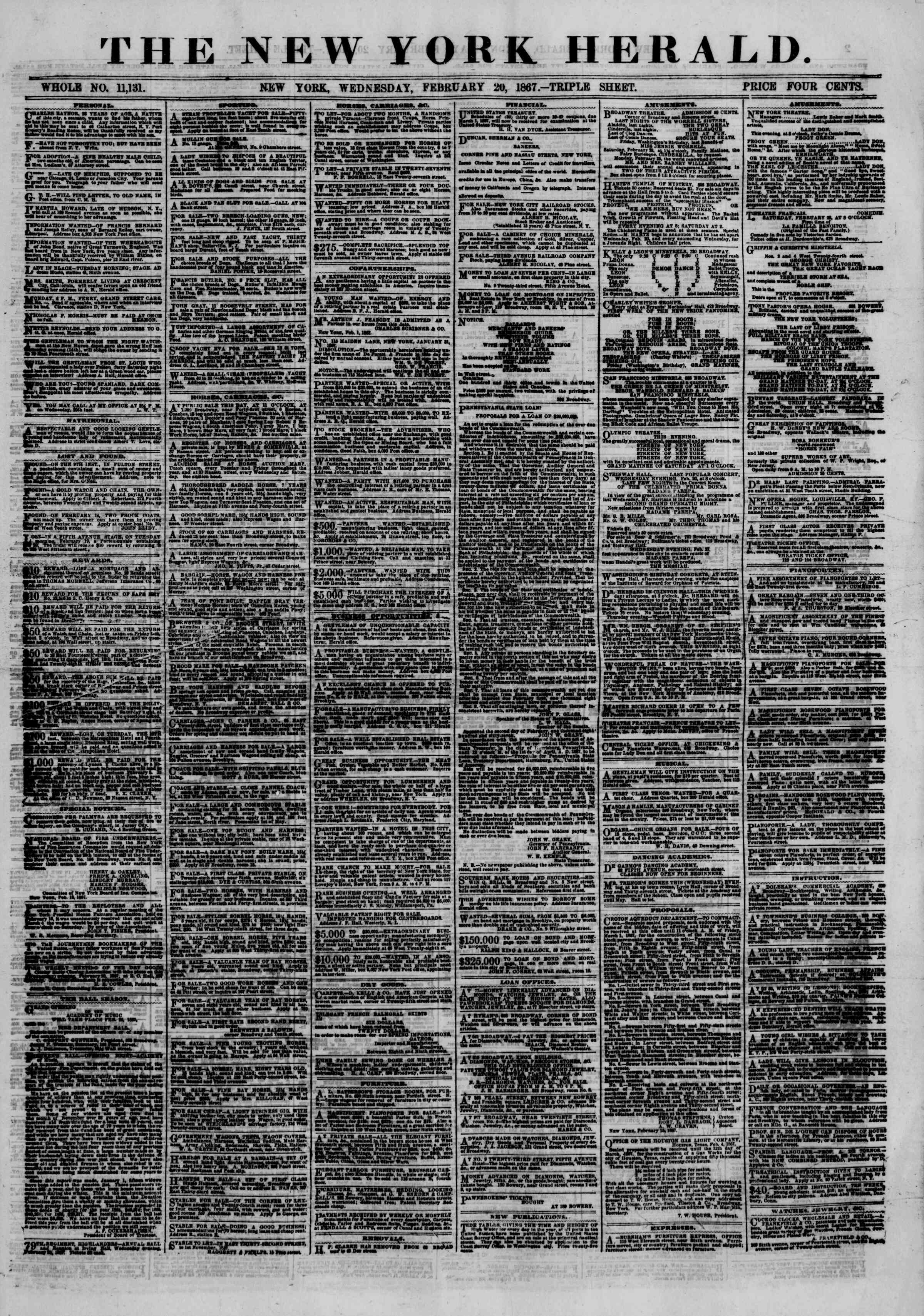 Newspaper of The New York Herald dated February 20, 1867 Page 1