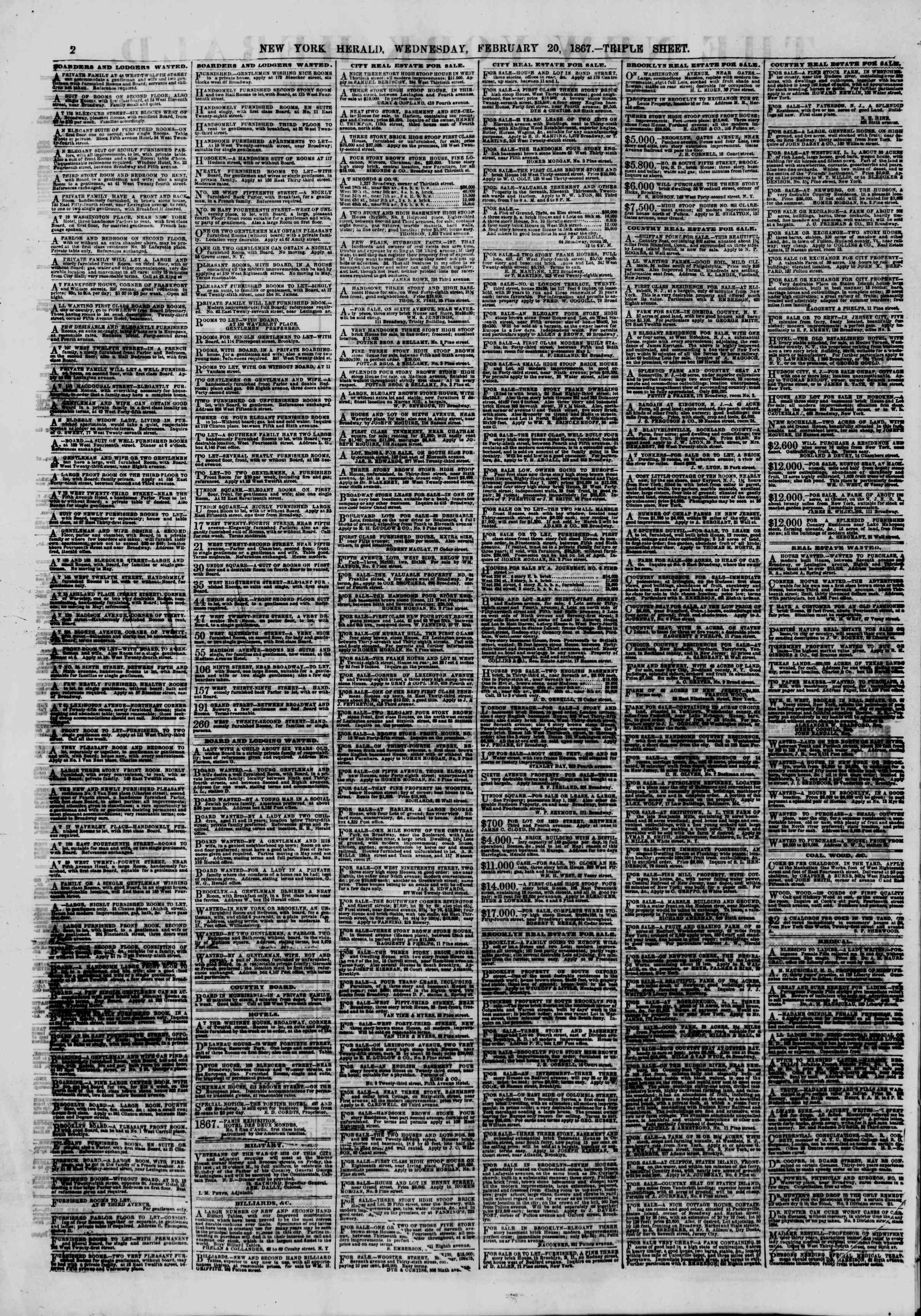 Newspaper of The New York Herald dated February 20, 1867 Page 2