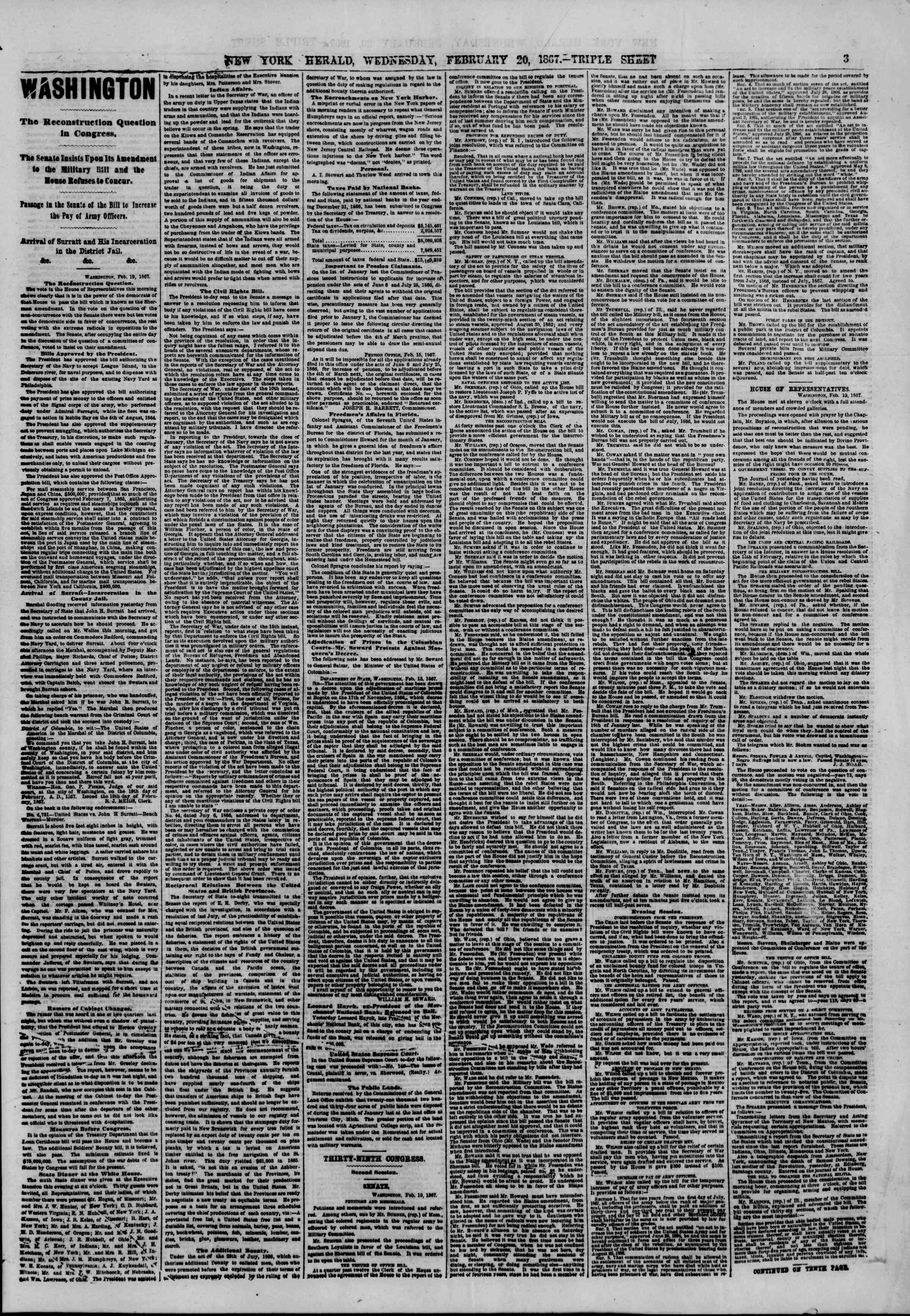 Newspaper of The New York Herald dated February 20, 1867 Page 3