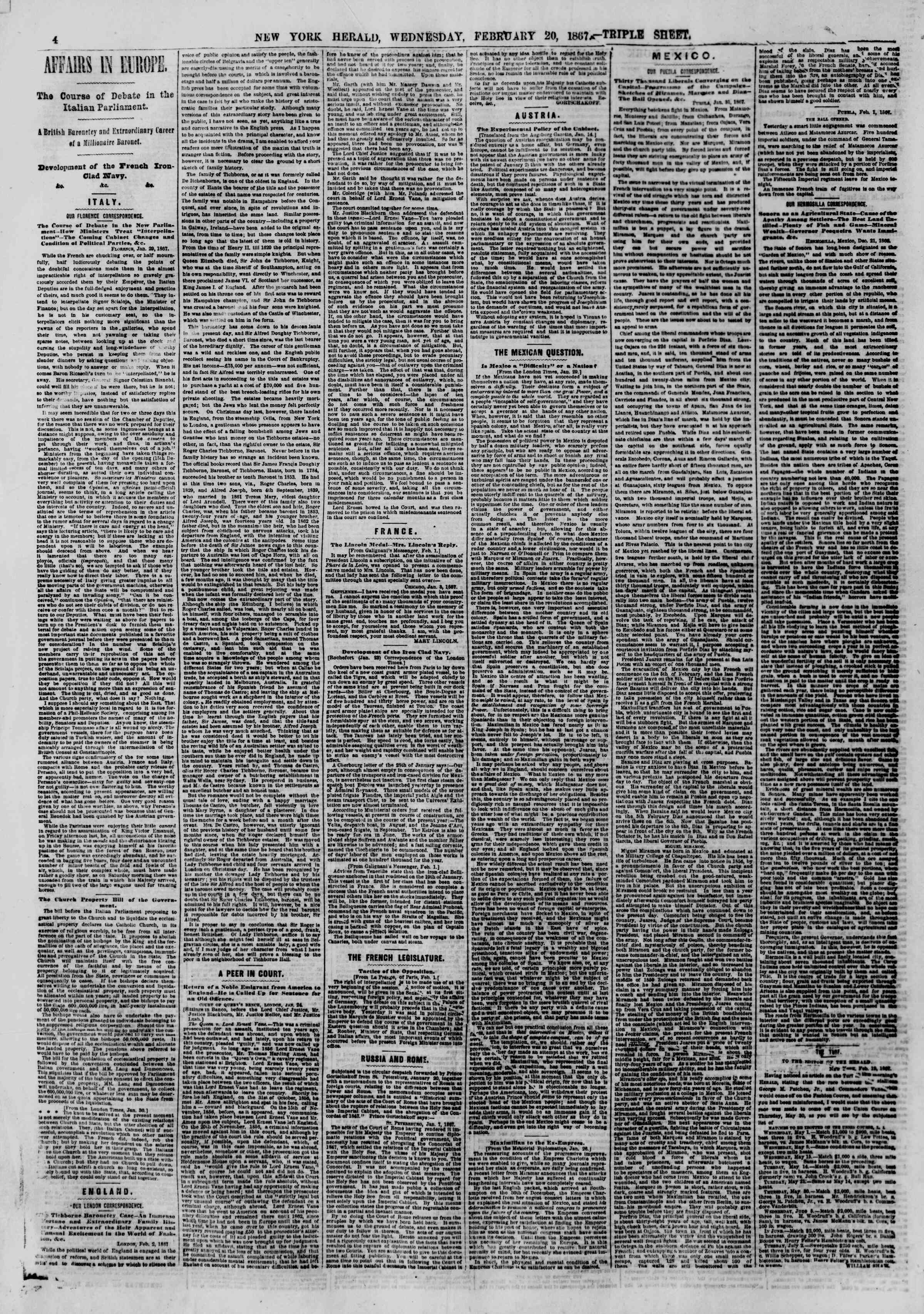 Newspaper of The New York Herald dated February 20, 1867 Page 4