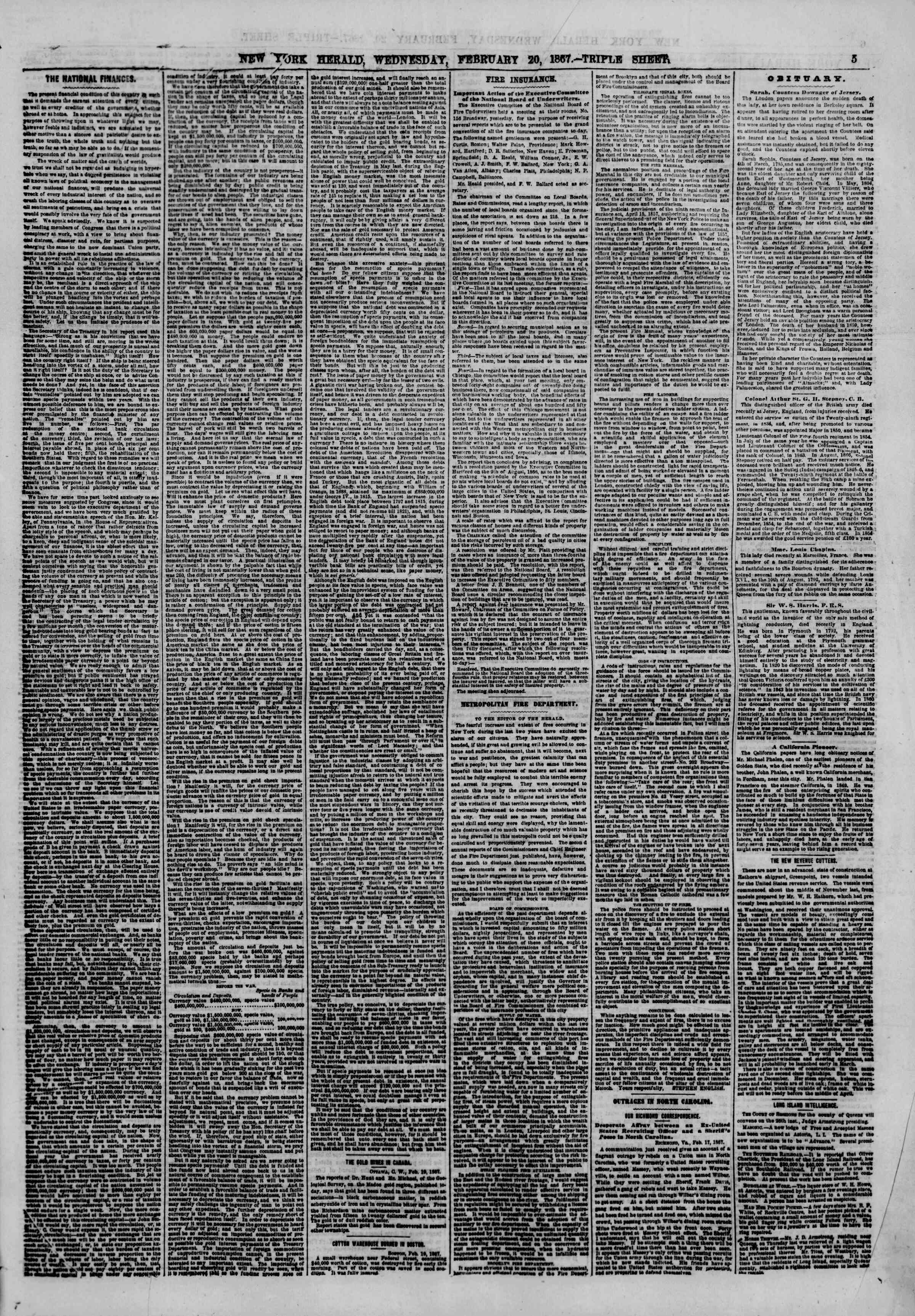 Newspaper of The New York Herald dated February 20, 1867 Page 5