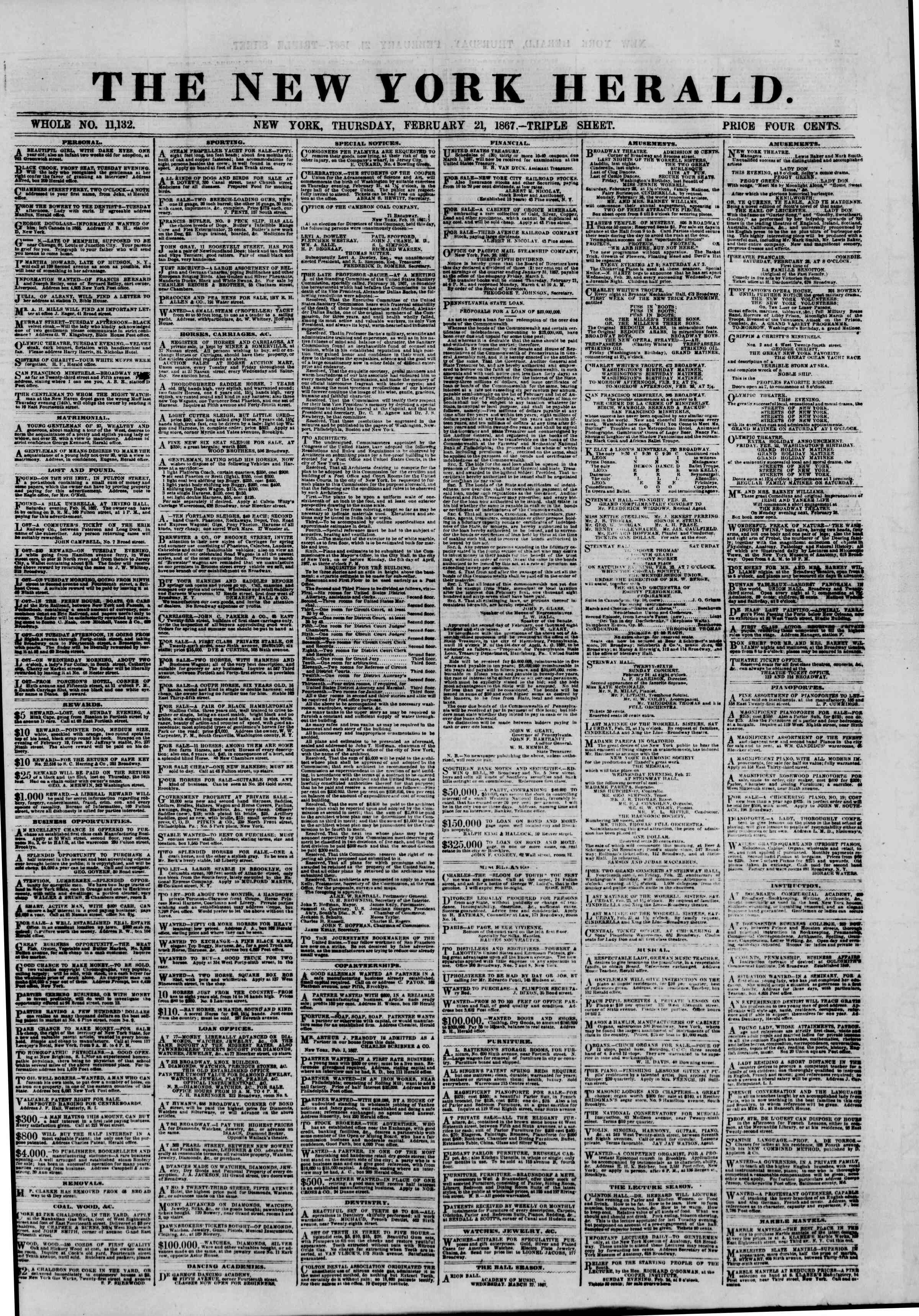 Newspaper of The New York Herald dated February 21, 1867 Page 1