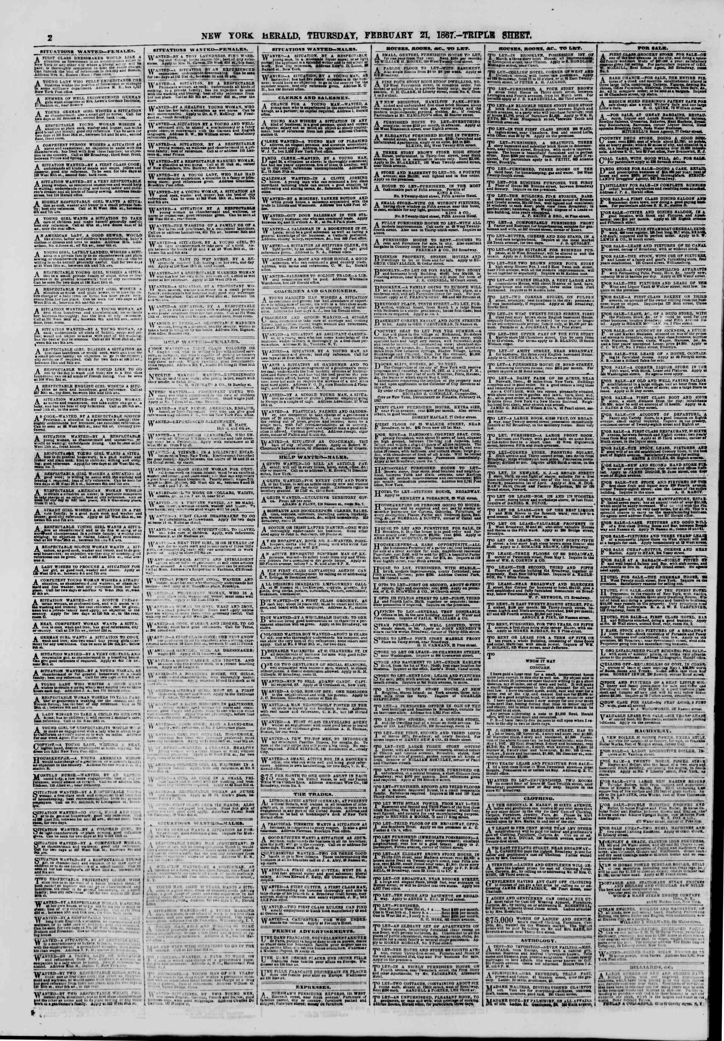 Newspaper of The New York Herald dated February 21, 1867 Page 2