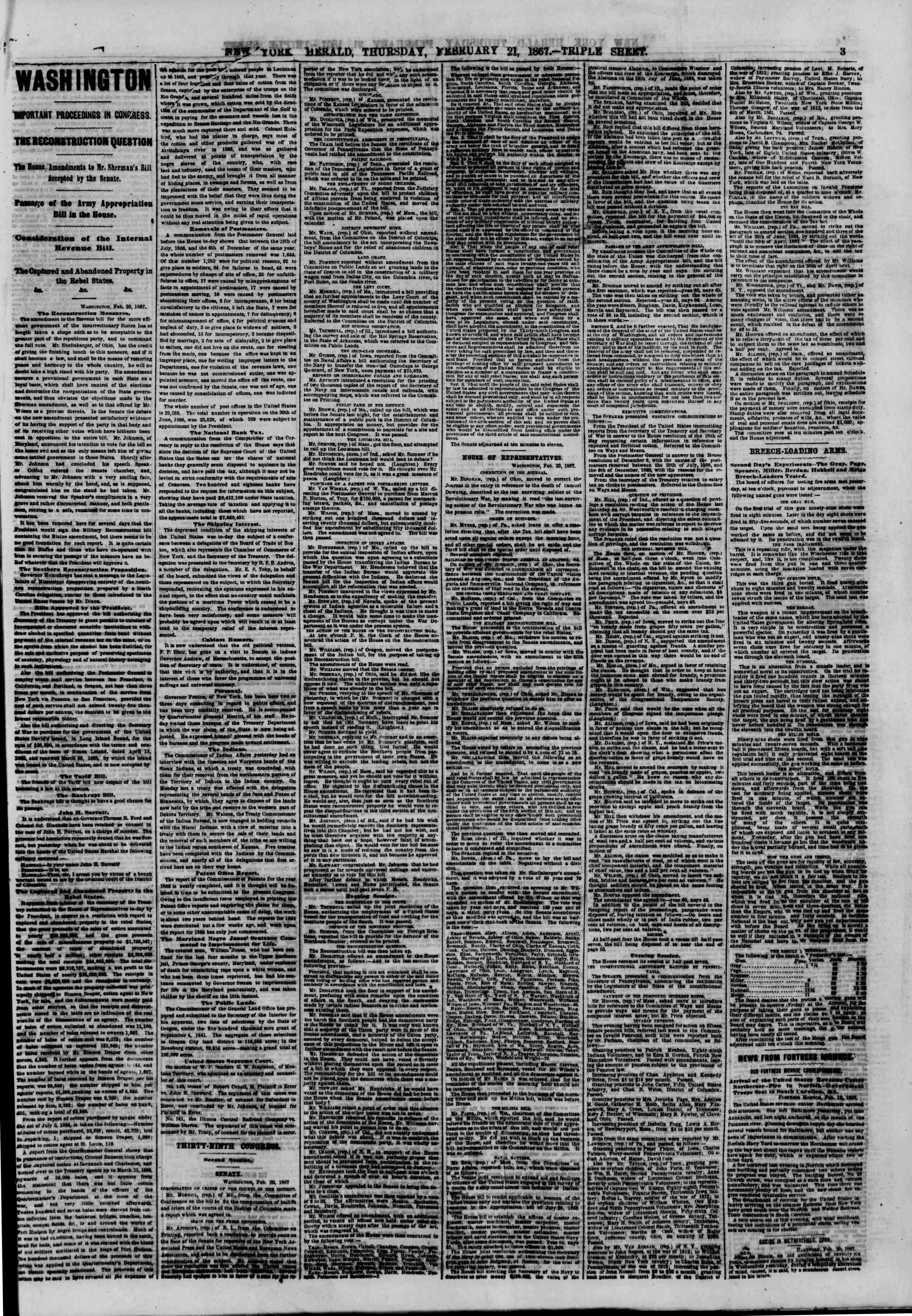 Newspaper of The New York Herald dated February 21, 1867 Page 3