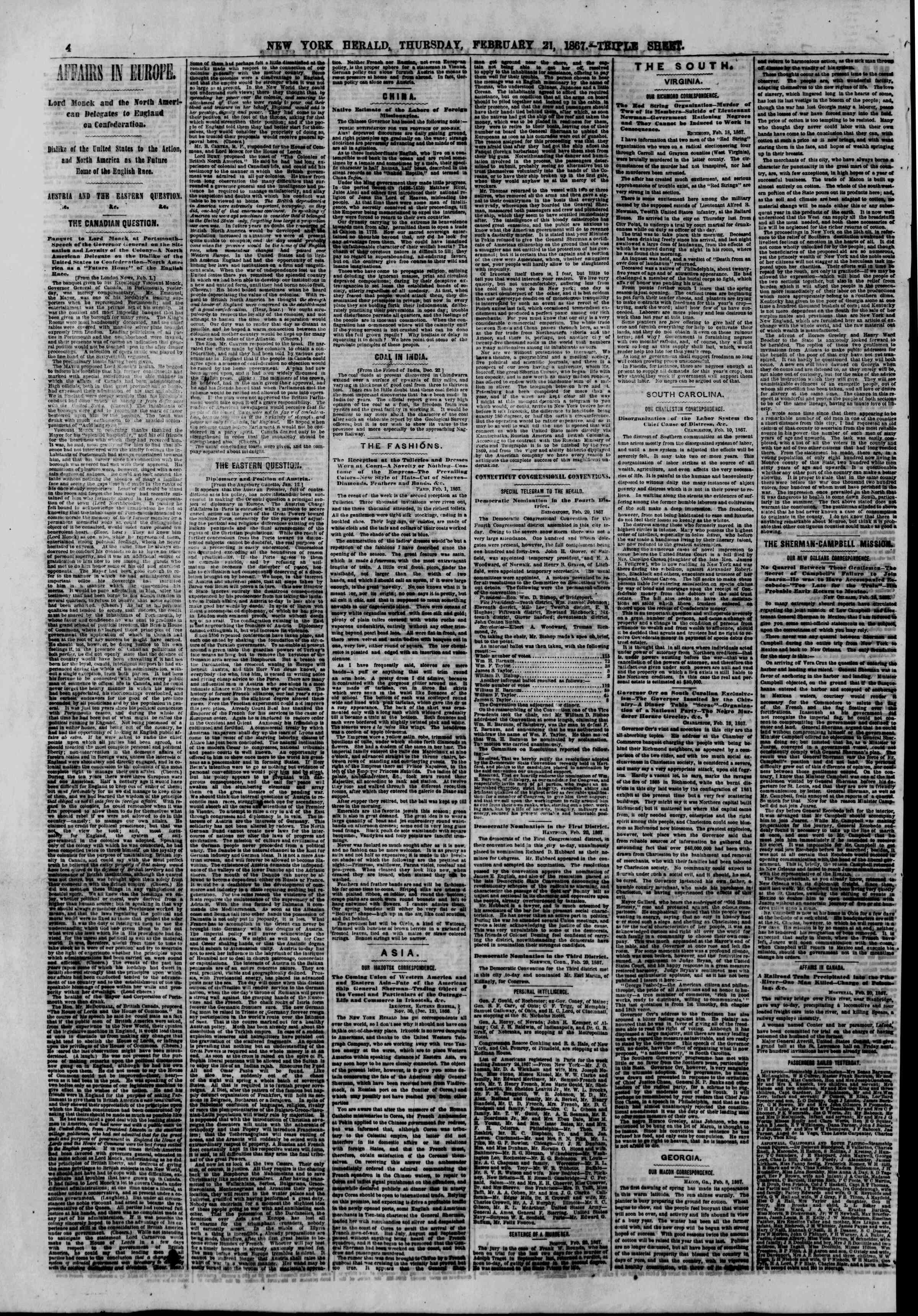 Newspaper of The New York Herald dated February 21, 1867 Page 4