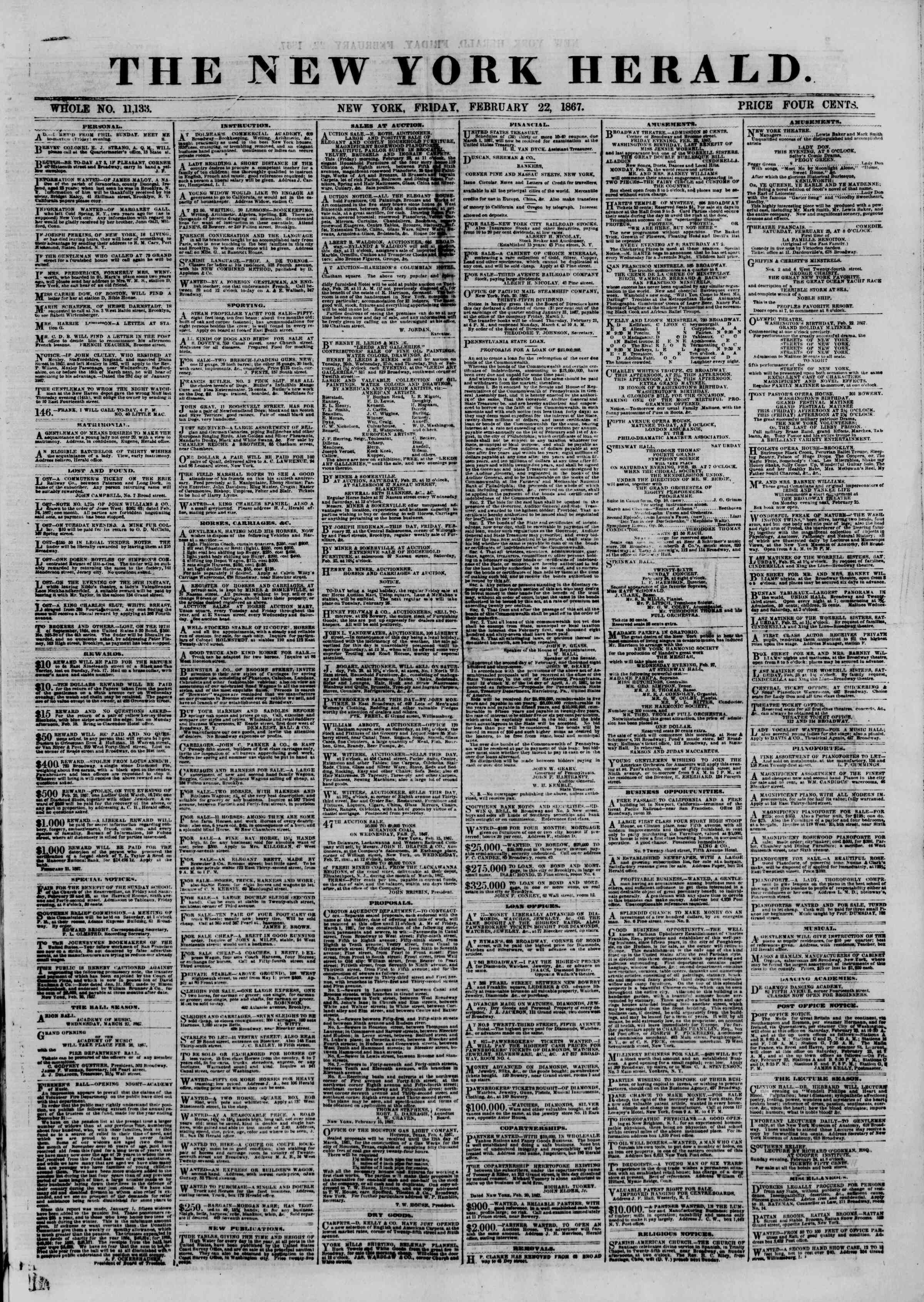 Newspaper of The New York Herald dated February 22, 1867 Page 1