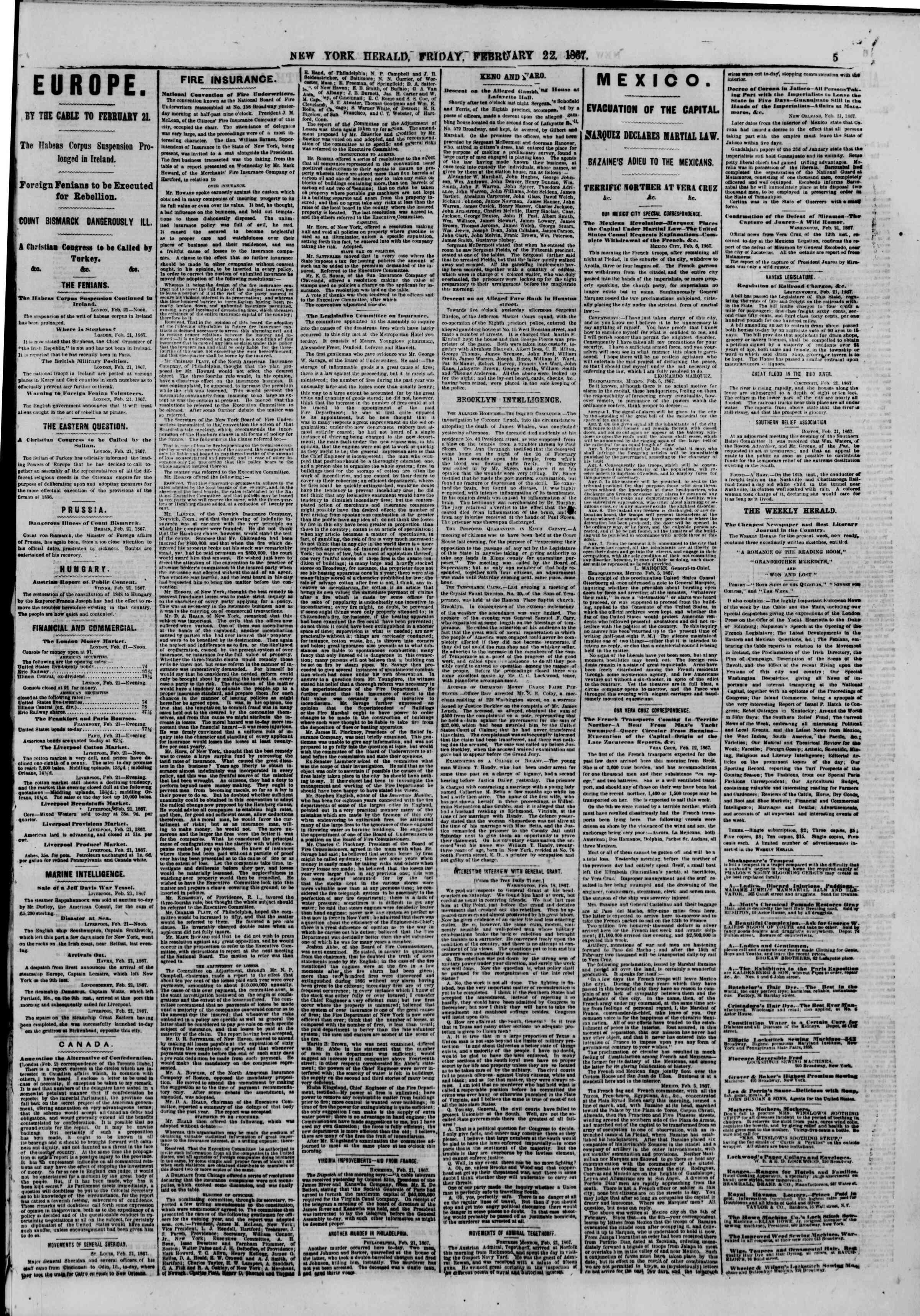Newspaper of The New York Herald dated February 22, 1867 Page 5