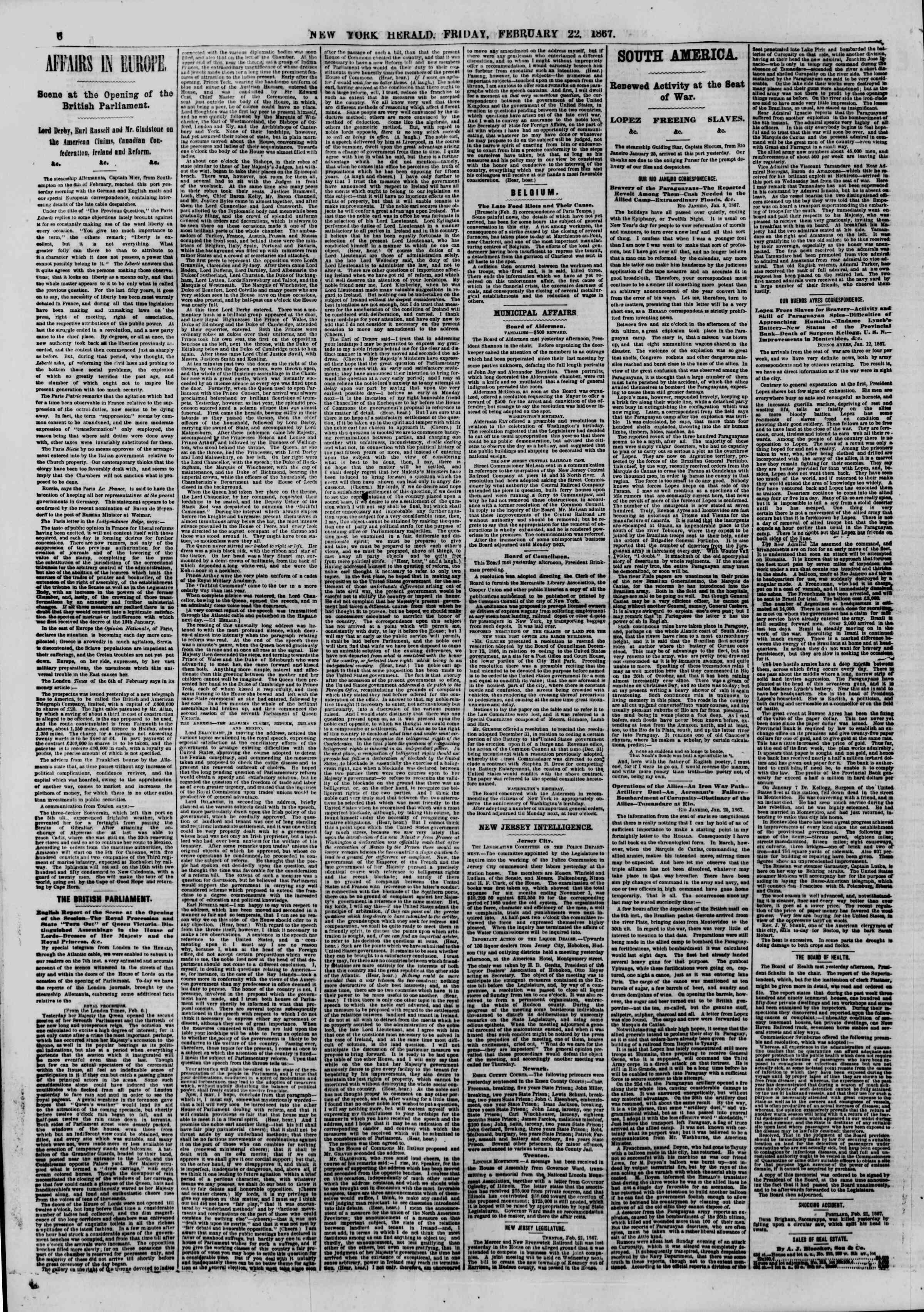 Newspaper of The New York Herald dated February 22, 1867 Page 6