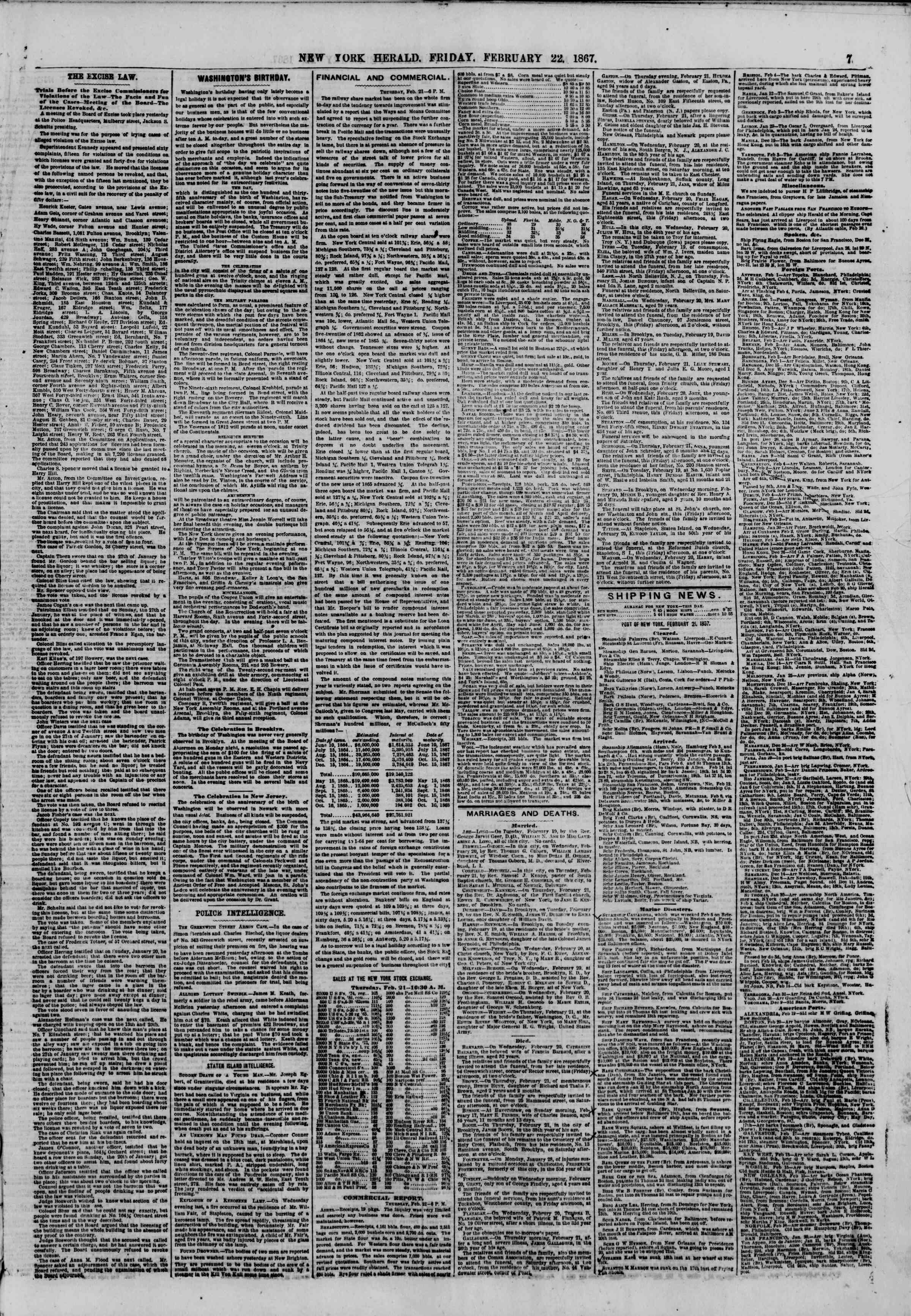 Newspaper of The New York Herald dated February 22, 1867 Page 7