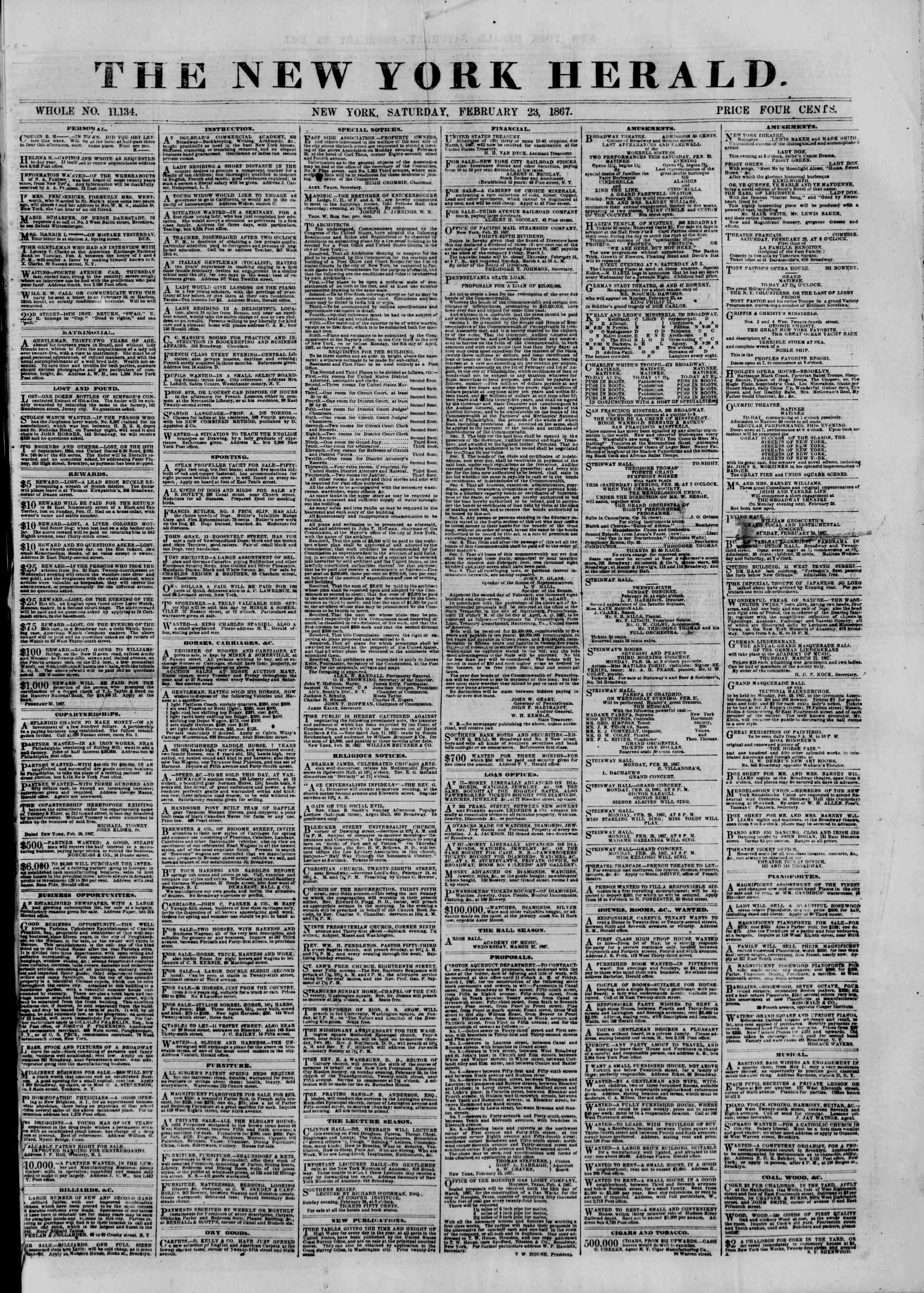 Newspaper of The New York Herald dated February 23, 1867 Page 1