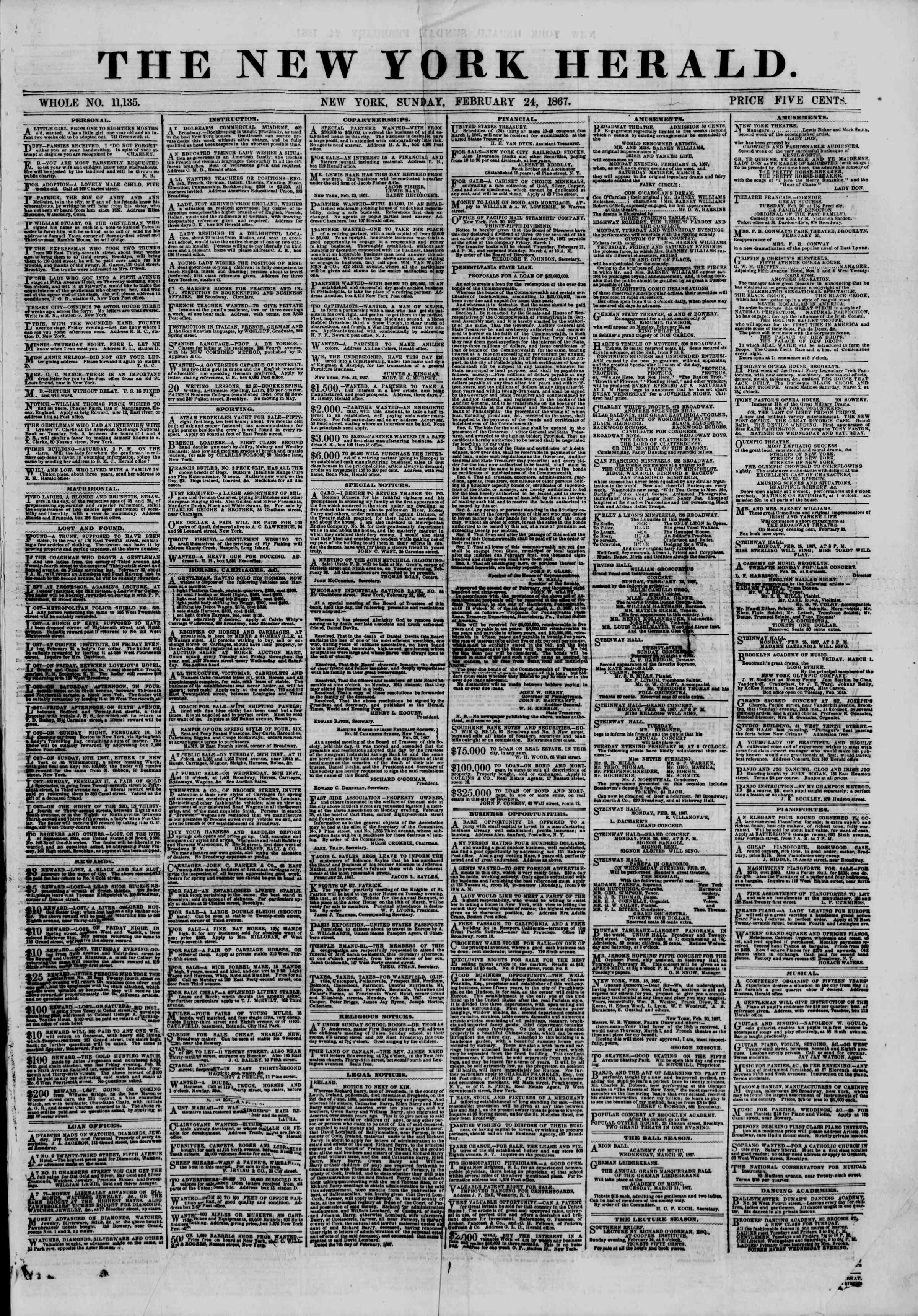 Newspaper of The New York Herald dated February 24, 1867 Page 1