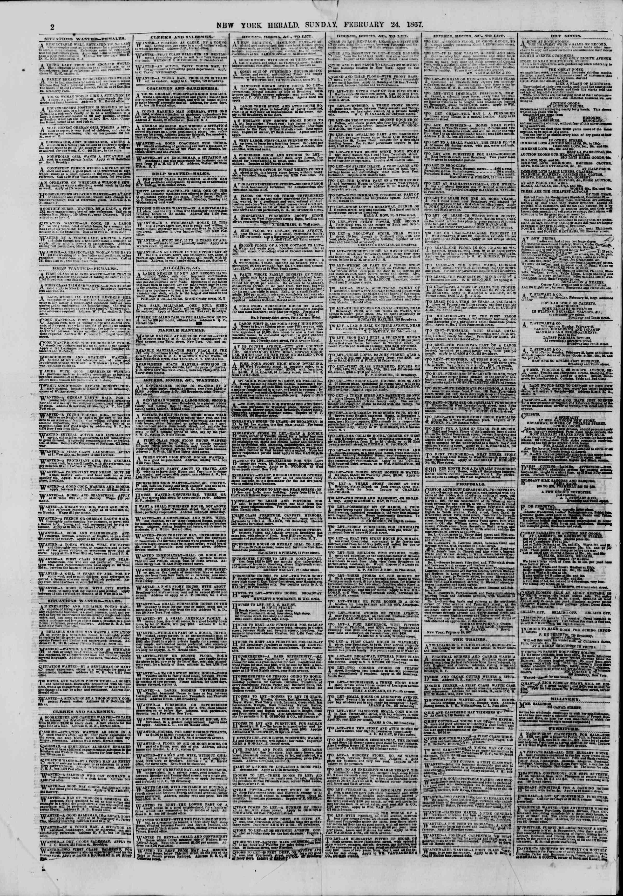 Newspaper of The New York Herald dated February 24, 1867 Page 2