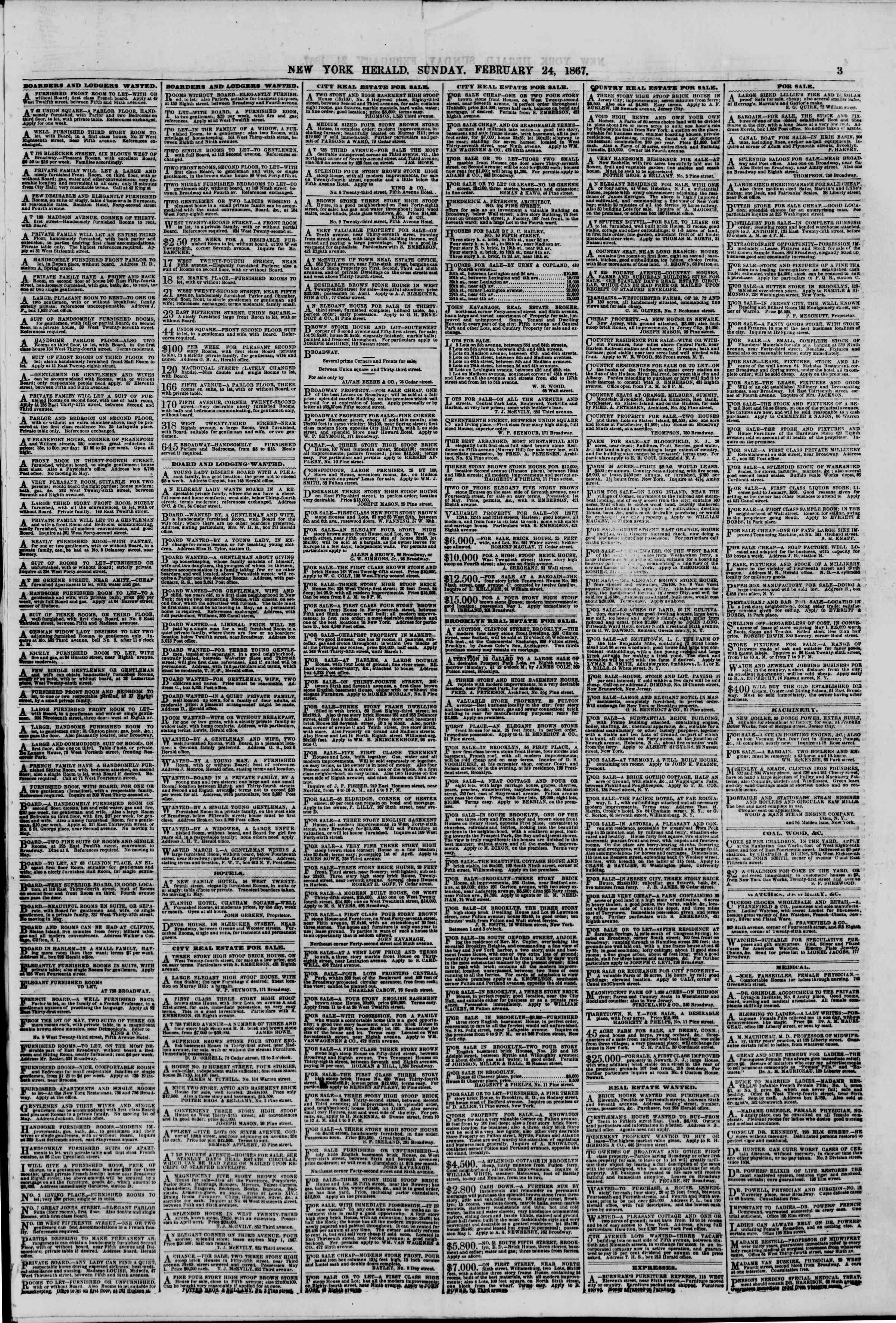 Newspaper of The New York Herald dated February 24, 1867 Page 3