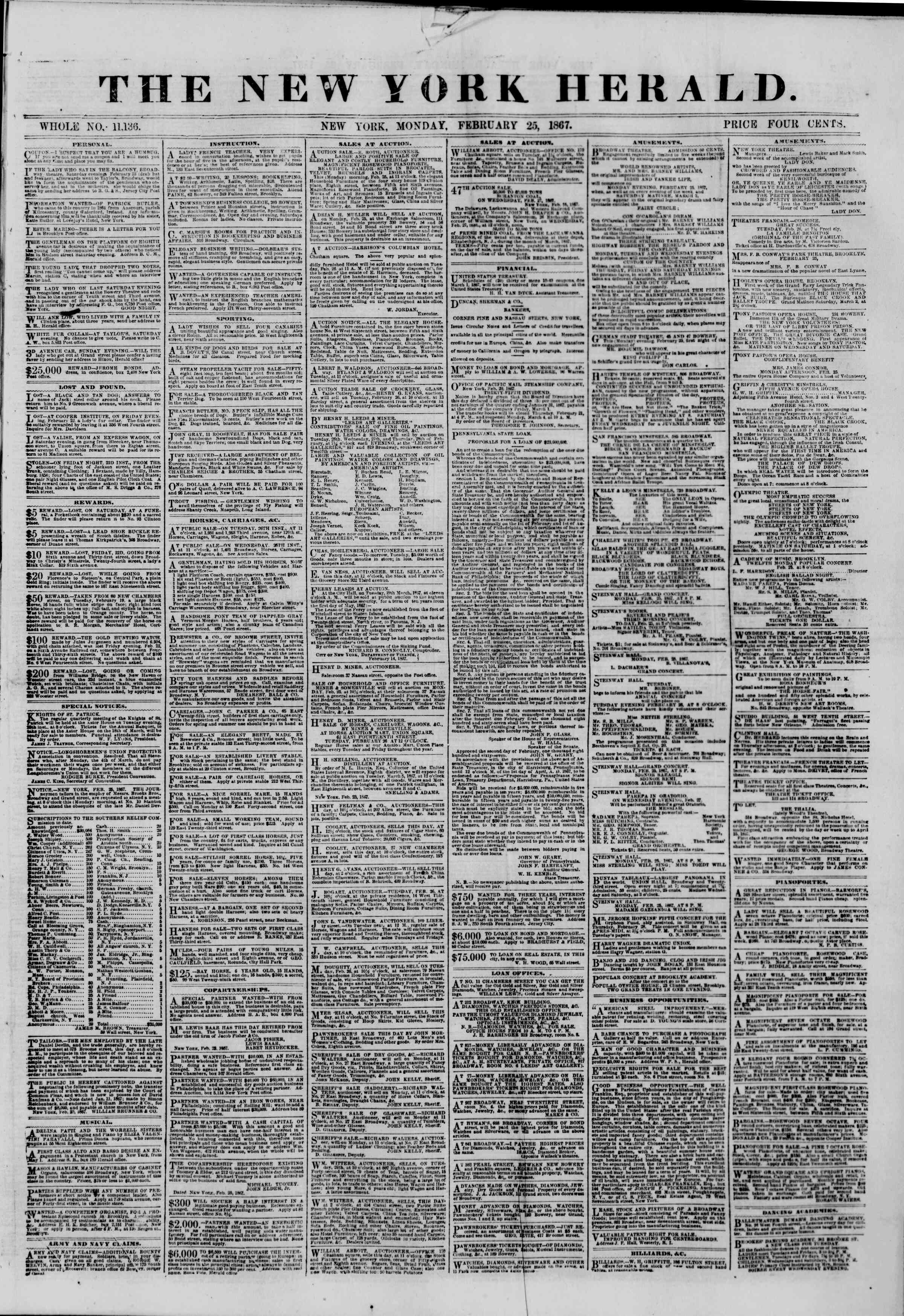 Newspaper of The New York Herald dated February 25, 1867 Page 1