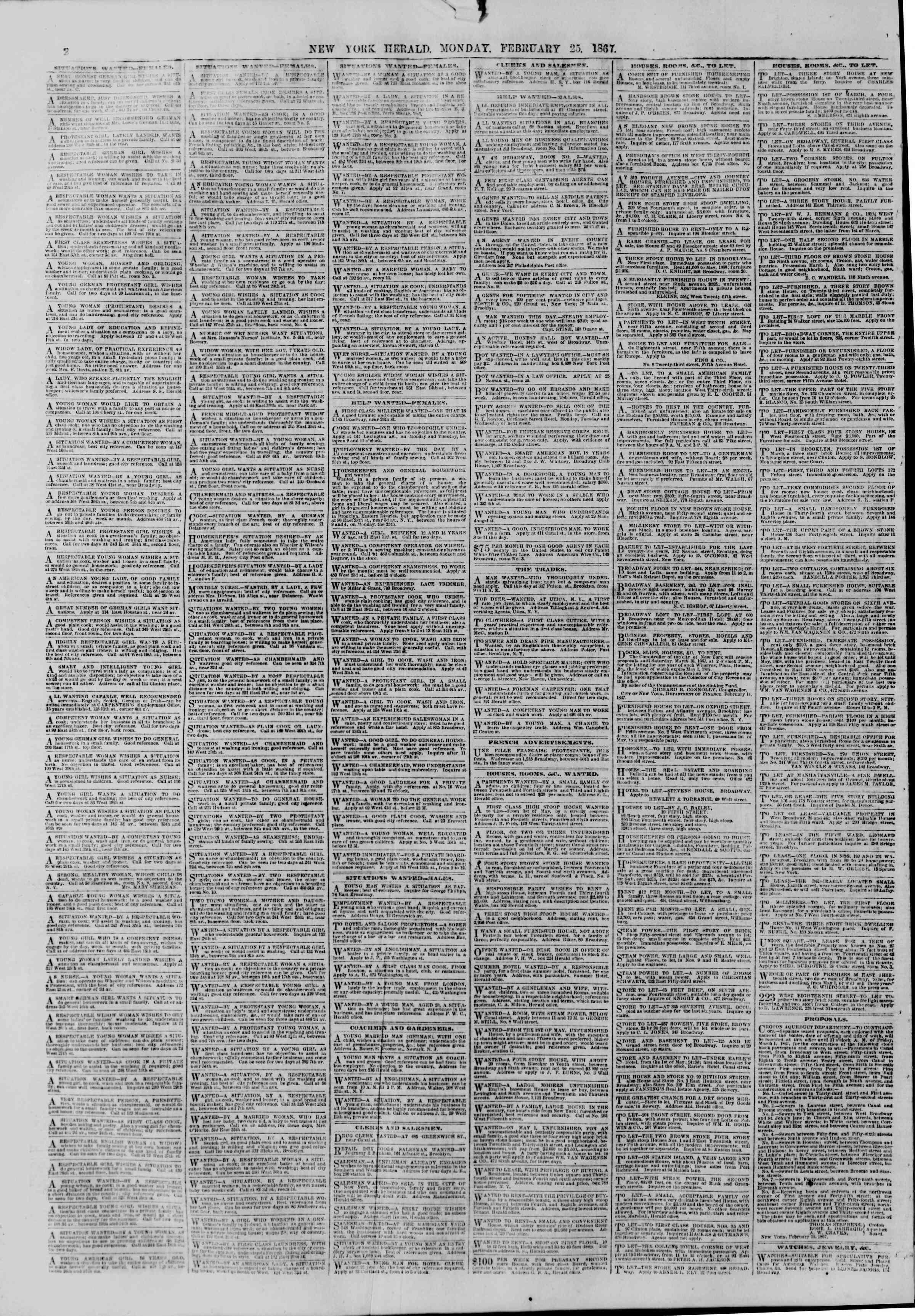 Newspaper of The New York Herald dated February 25, 1867 Page 2