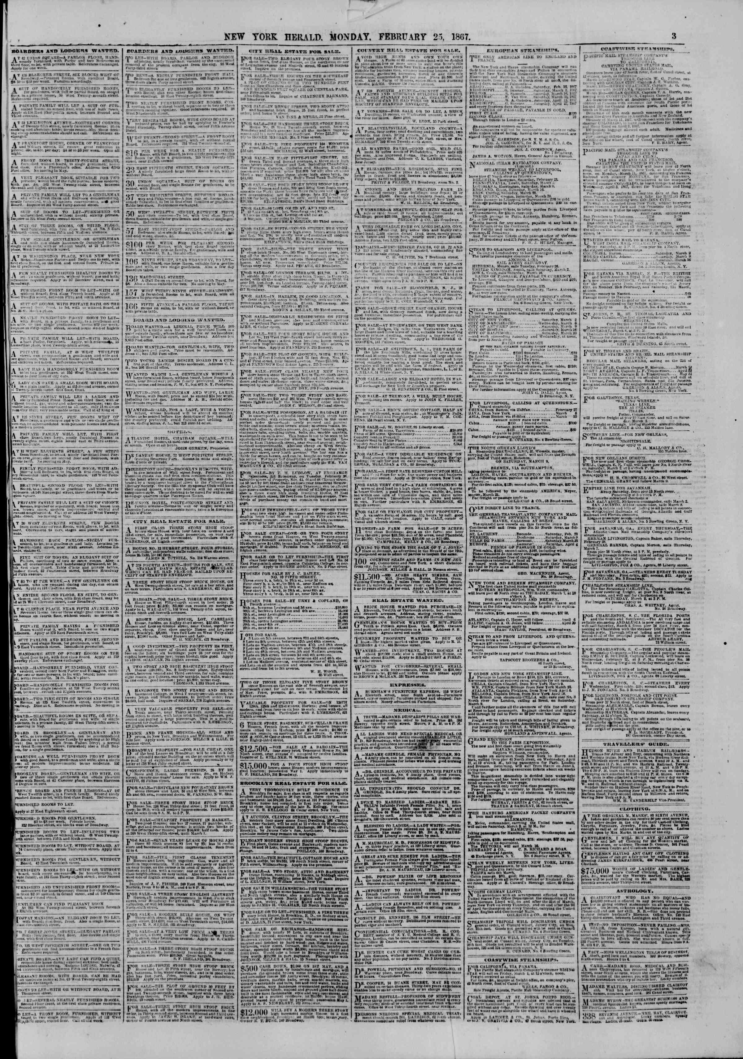 Newspaper of The New York Herald dated February 25, 1867 Page 3