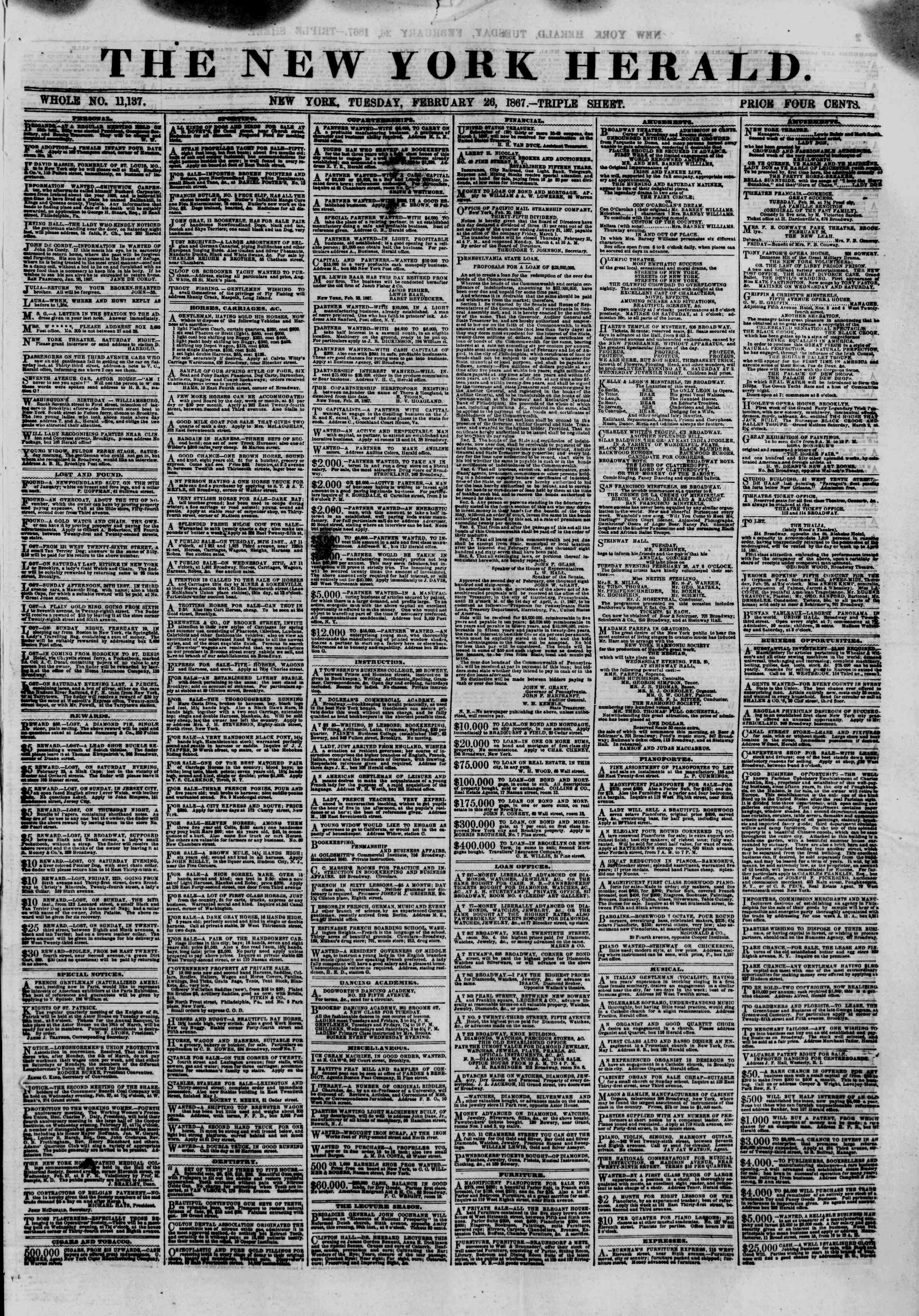 Newspaper of The New York Herald dated February 26, 1867 Page 1
