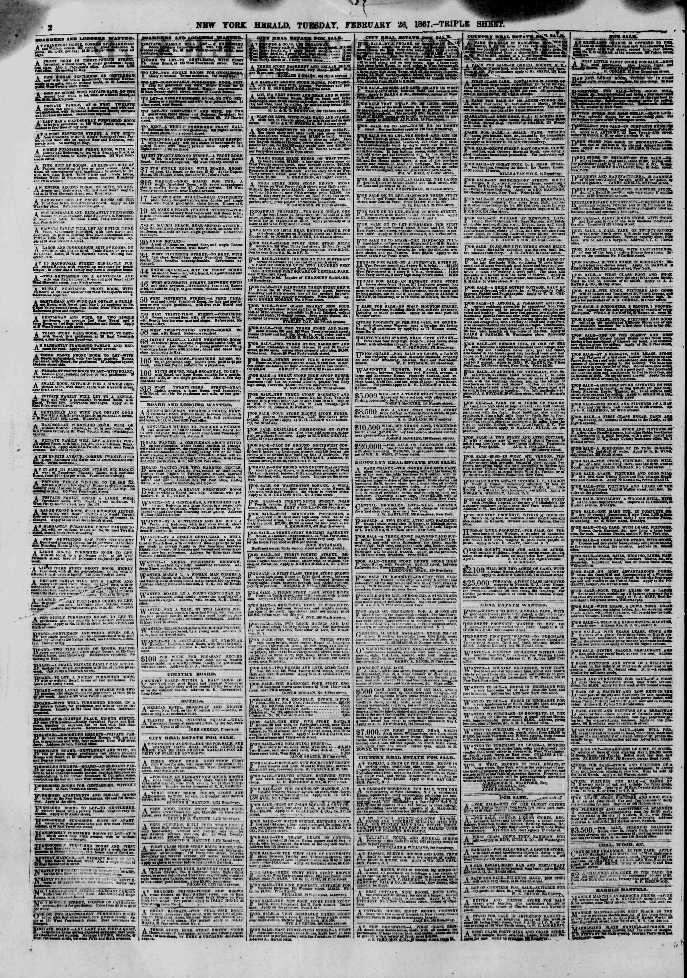 Newspaper of The New York Herald dated February 26, 1867 Page 2