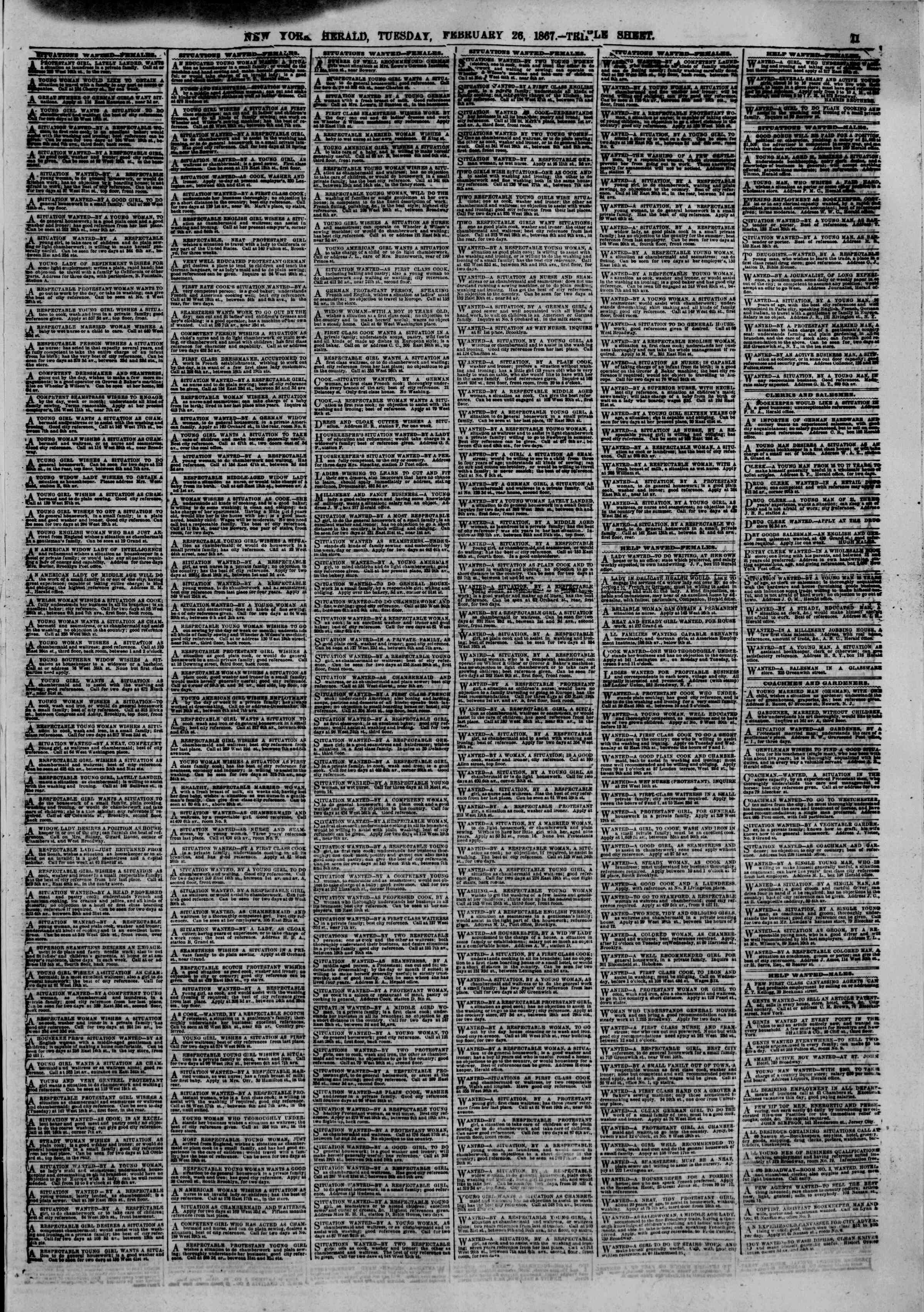 Newspaper of The New York Herald dated February 26, 1867 Page 11