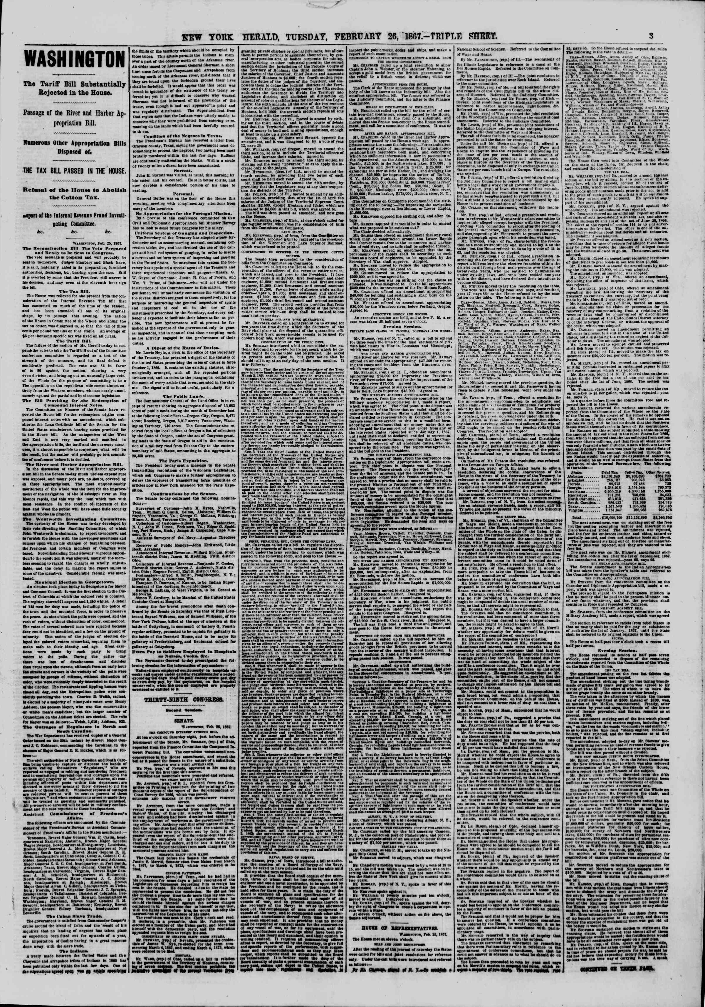 Newspaper of The New York Herald dated 26 Şubat 1867 Page 3