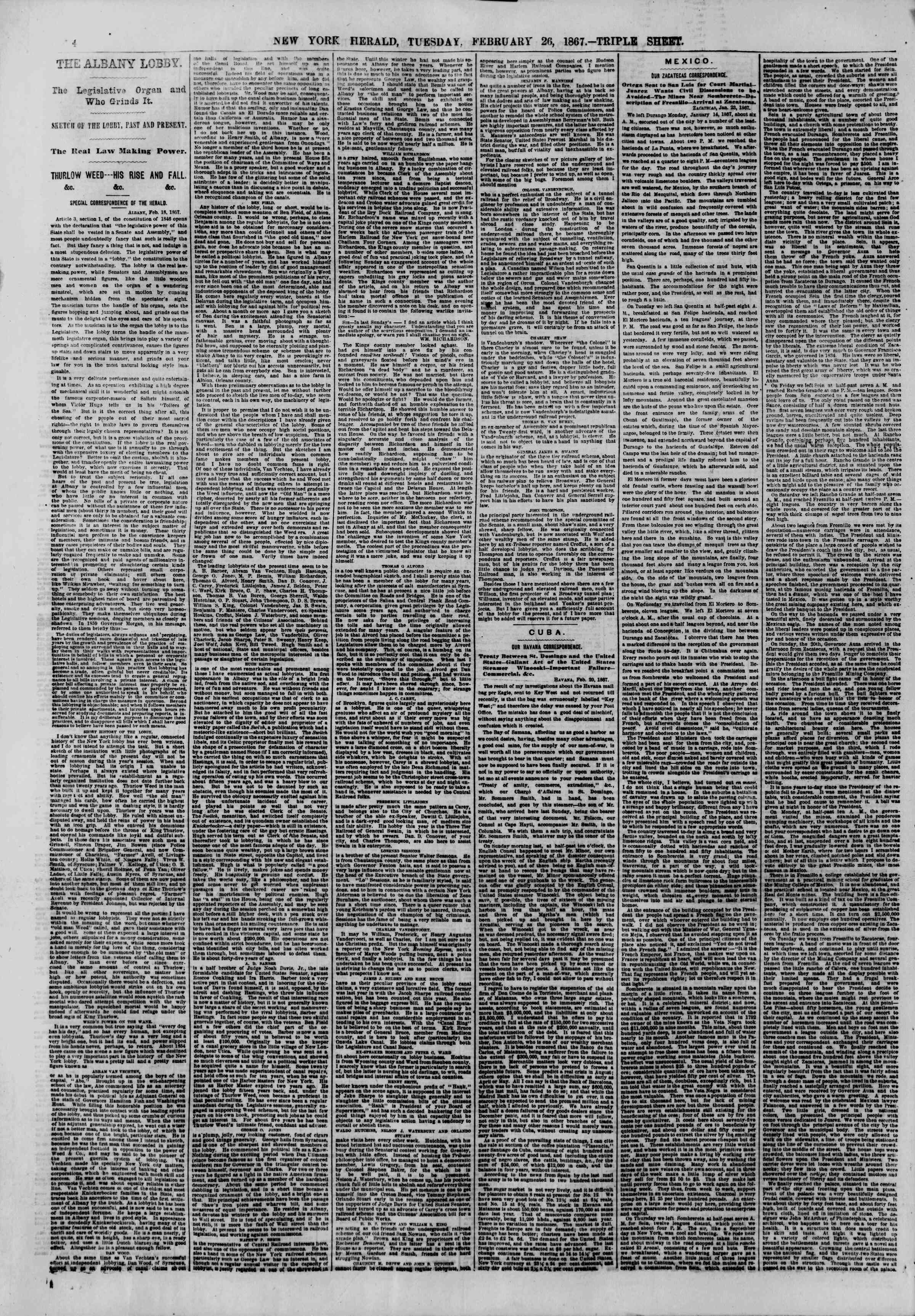 Newspaper of The New York Herald dated February 26, 1867 Page 4