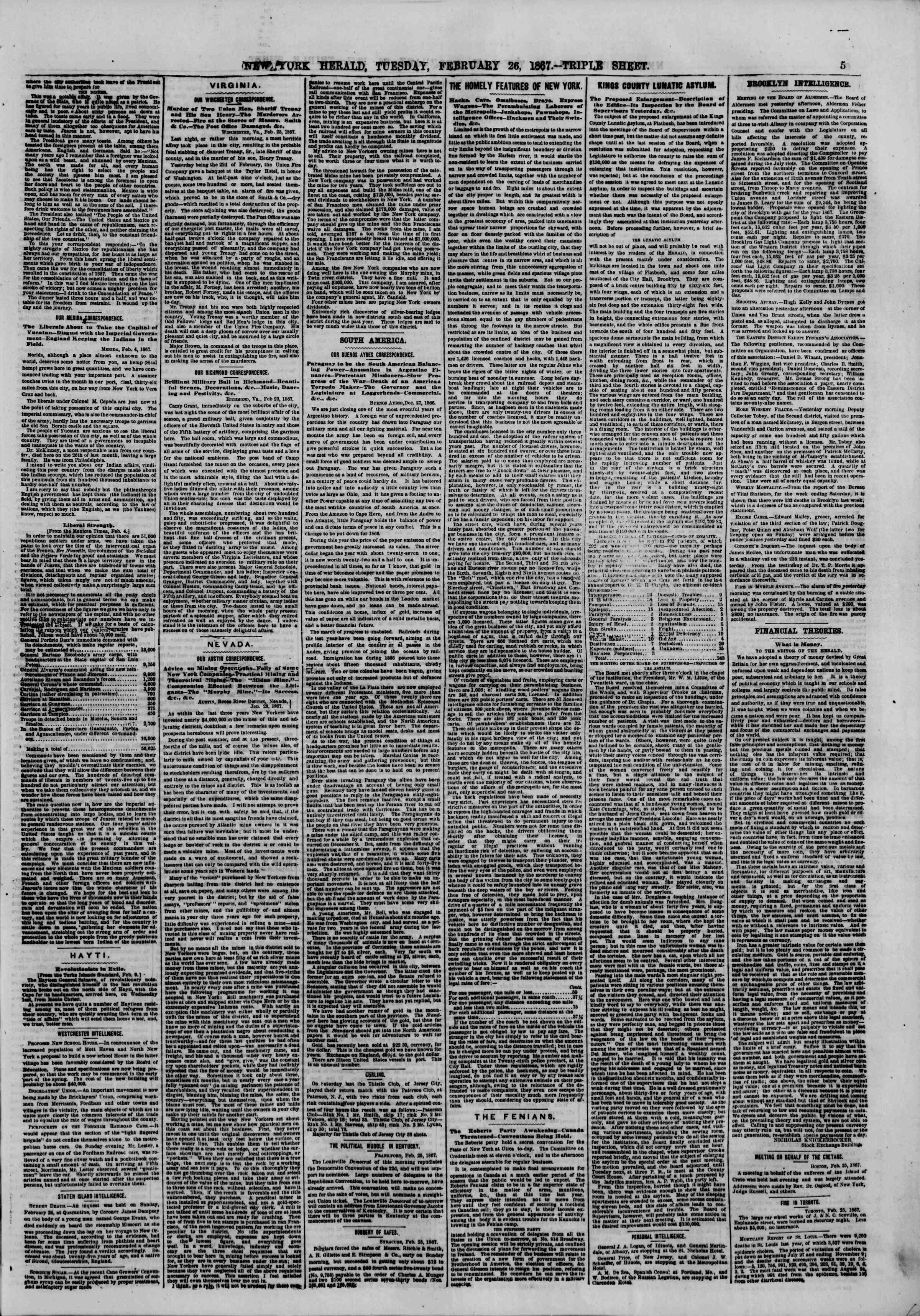 Newspaper of The New York Herald dated February 26, 1867 Page 5