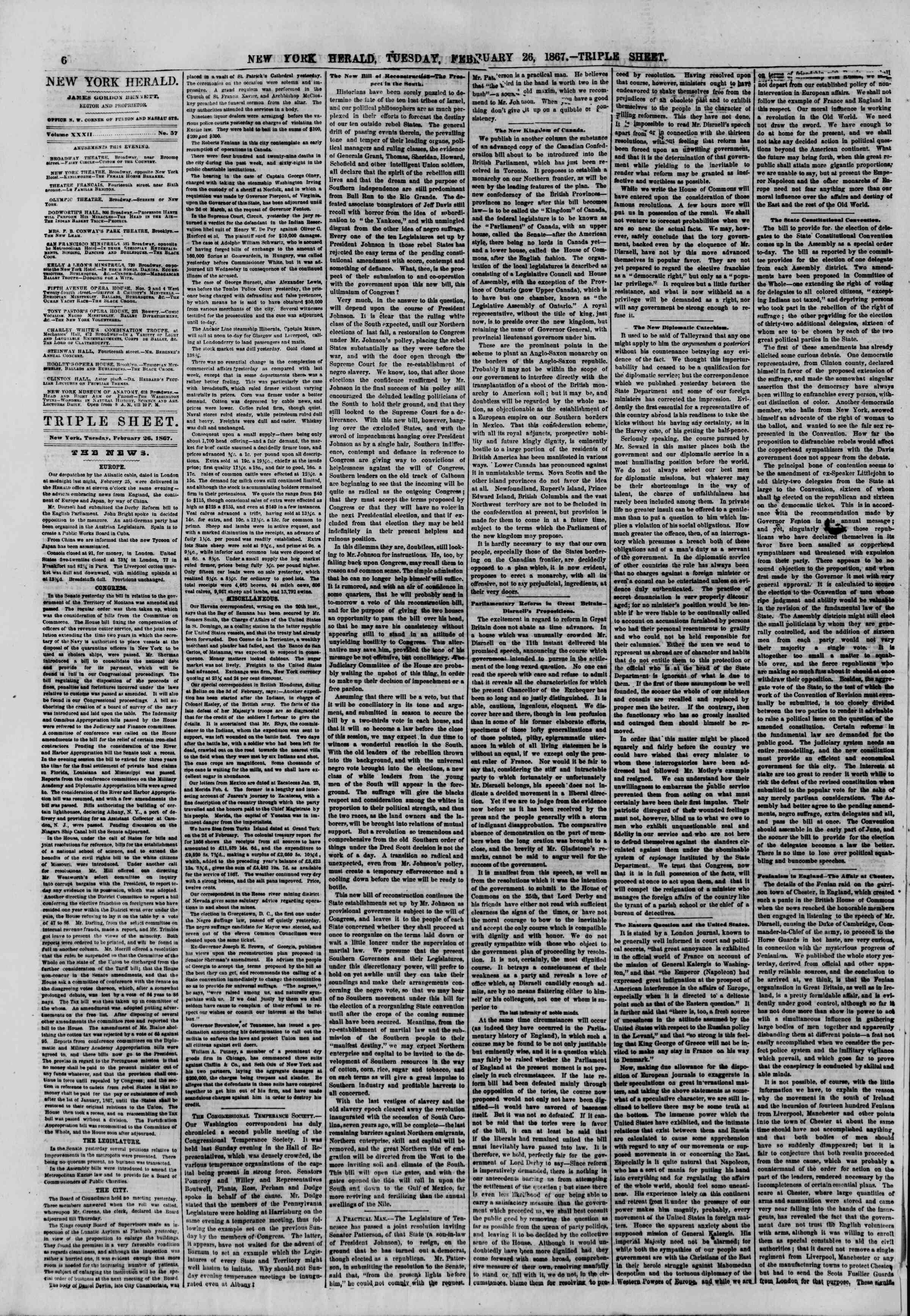 Newspaper of The New York Herald dated February 26, 1867 Page 6