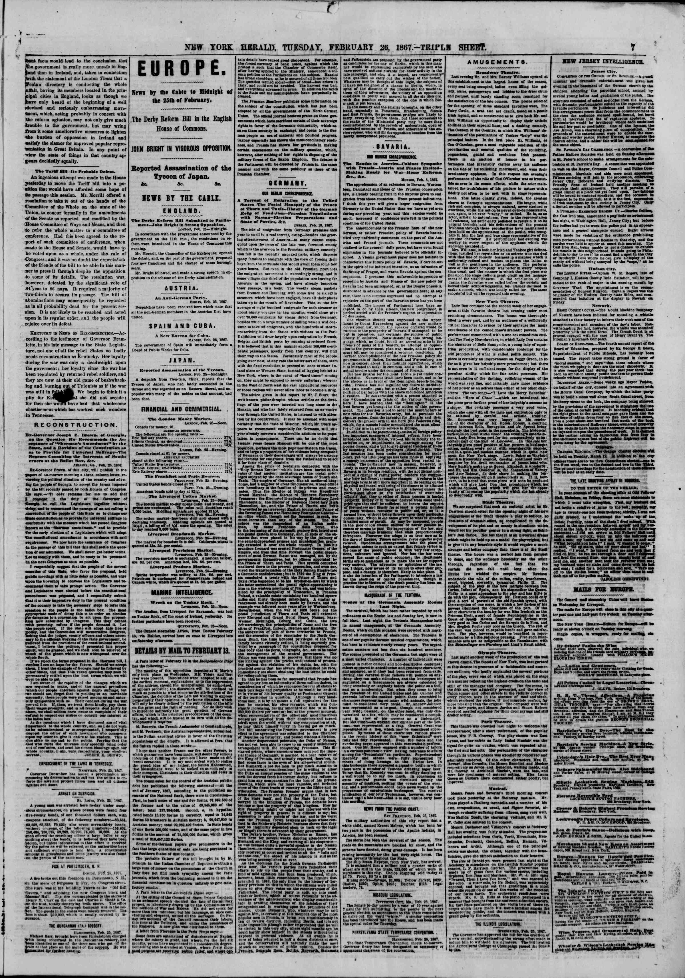 Newspaper of The New York Herald dated February 26, 1867 Page 7