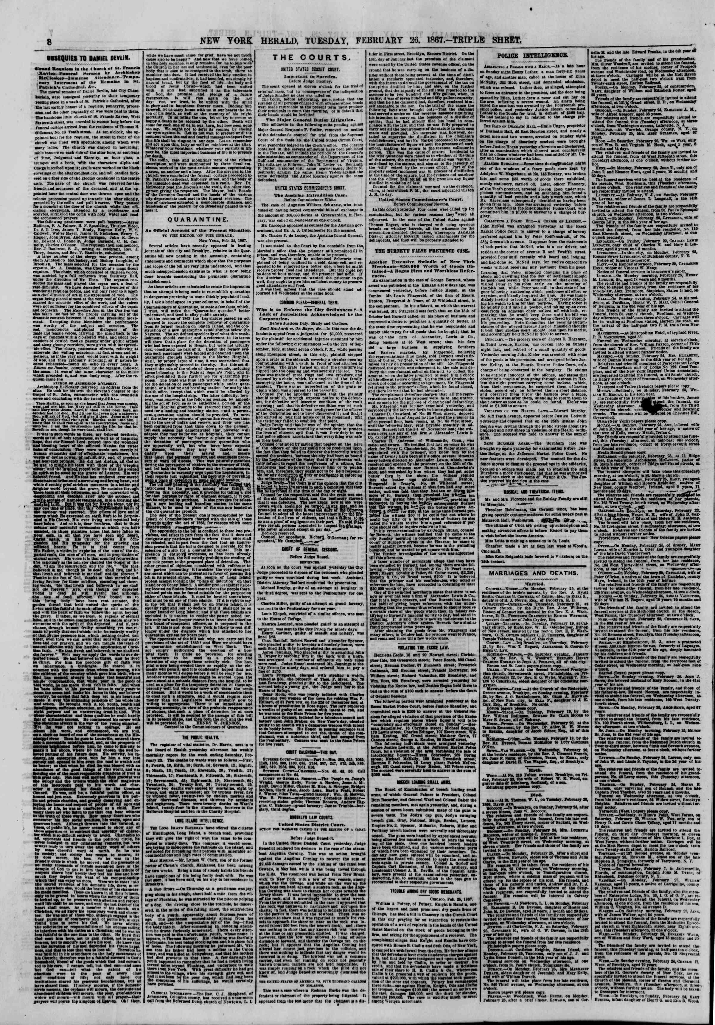 Newspaper of The New York Herald dated February 26, 1867 Page 8