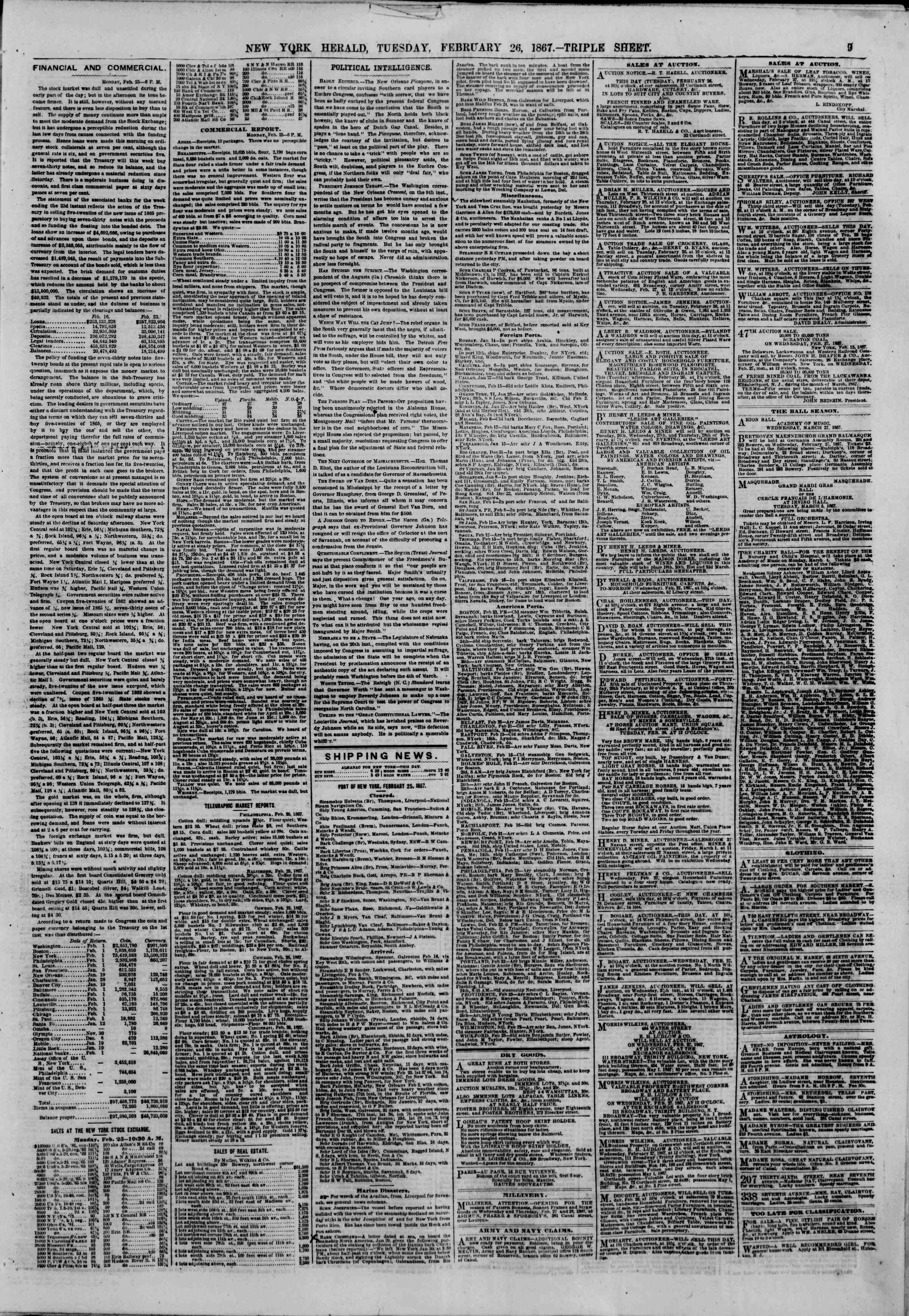 Newspaper of The New York Herald dated February 26, 1867 Page 9