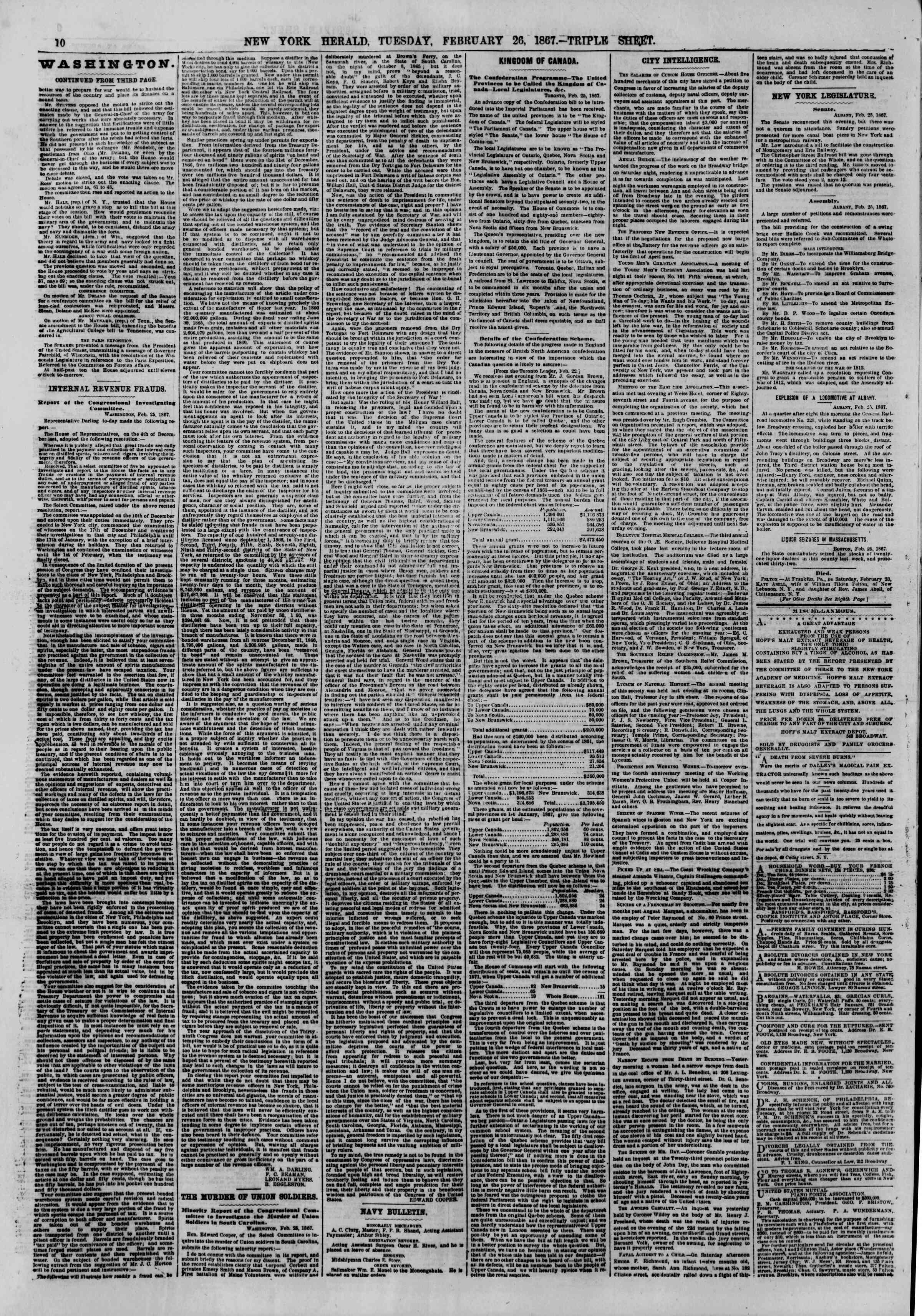 Newspaper of The New York Herald dated February 26, 1867 Page 10