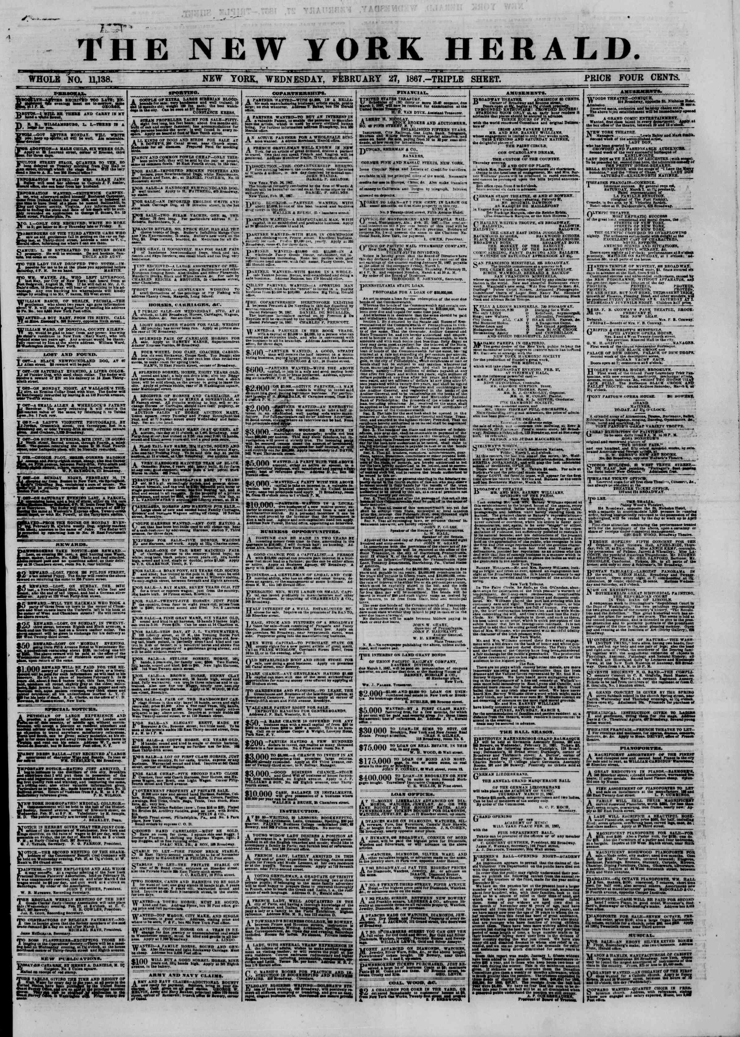 Newspaper of The New York Herald dated February 27, 1867 Page 1