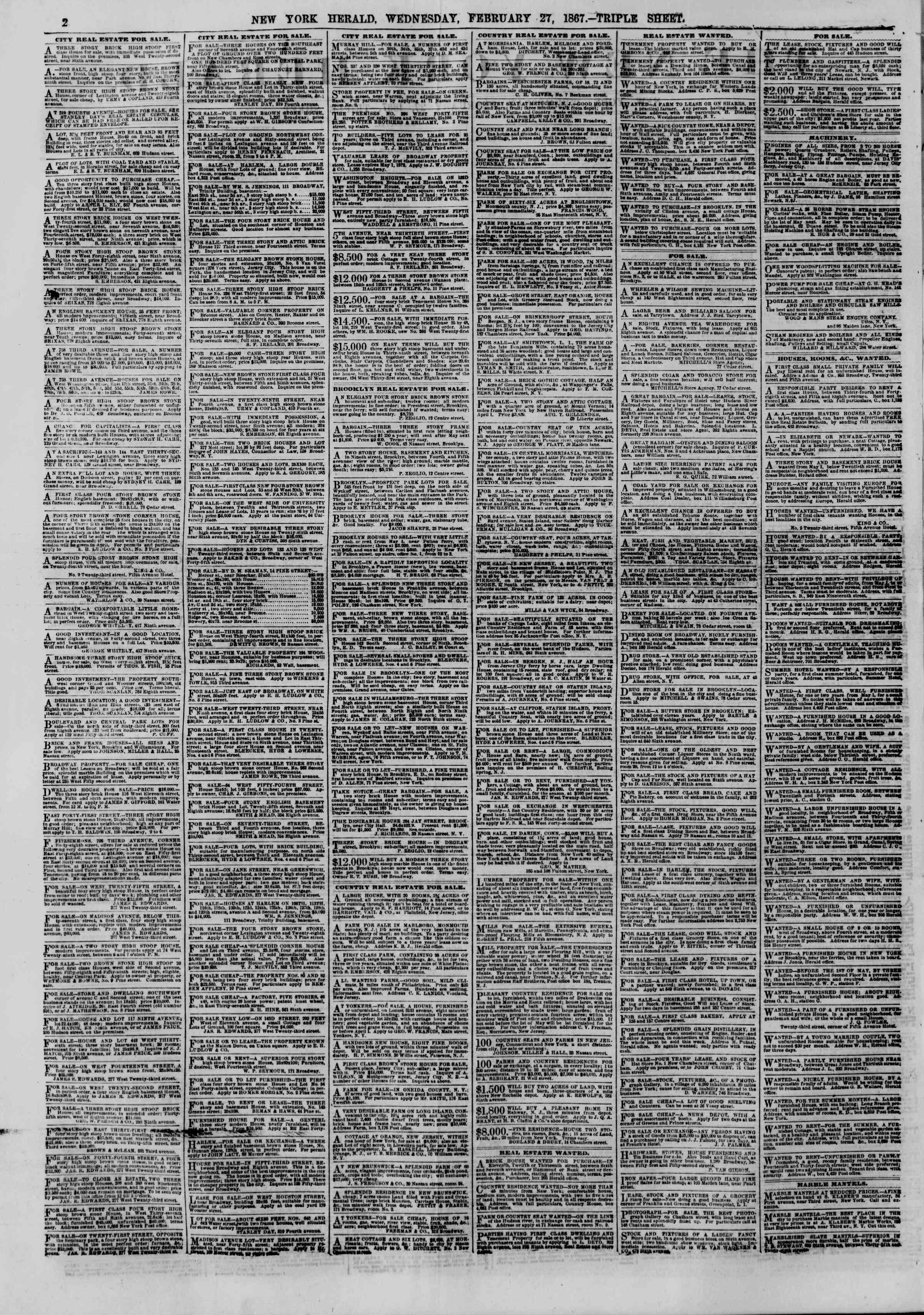 Newspaper of The New York Herald dated February 27, 1867 Page 2