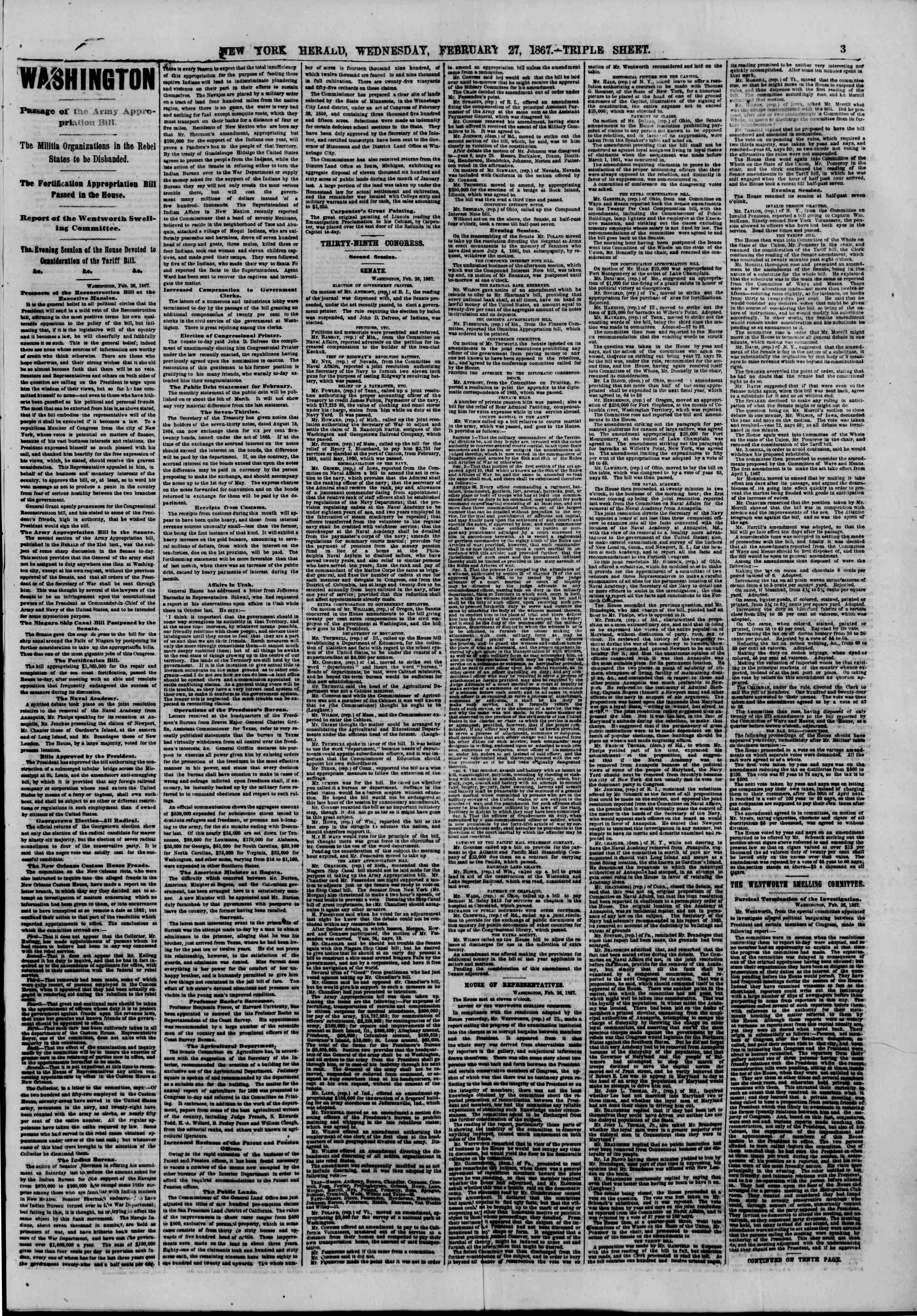 Newspaper of The New York Herald dated February 27, 1867 Page 3