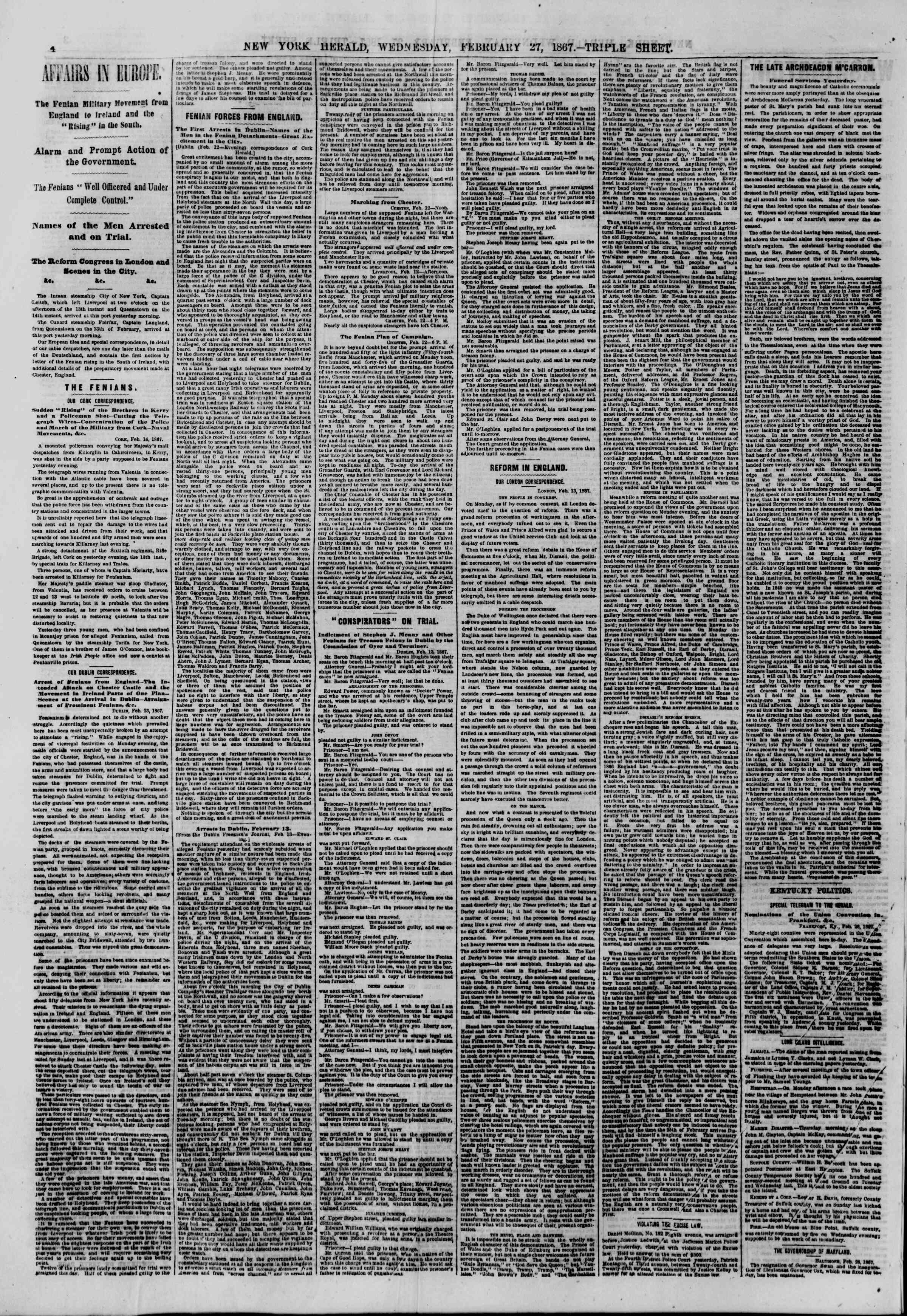Newspaper of The New York Herald dated February 27, 1867 Page 4