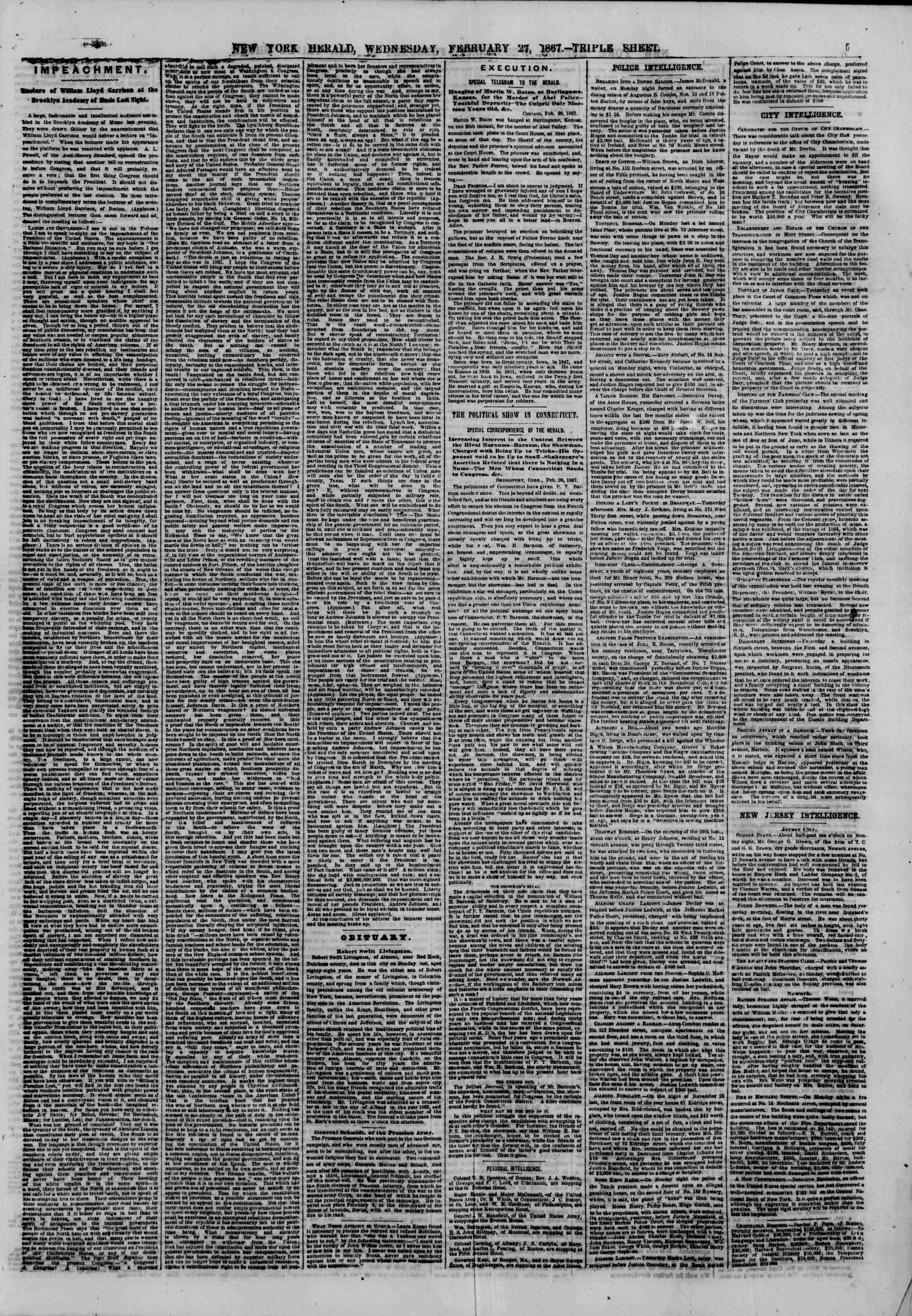 Newspaper of The New York Herald dated 27 Şubat 1867 Page 5