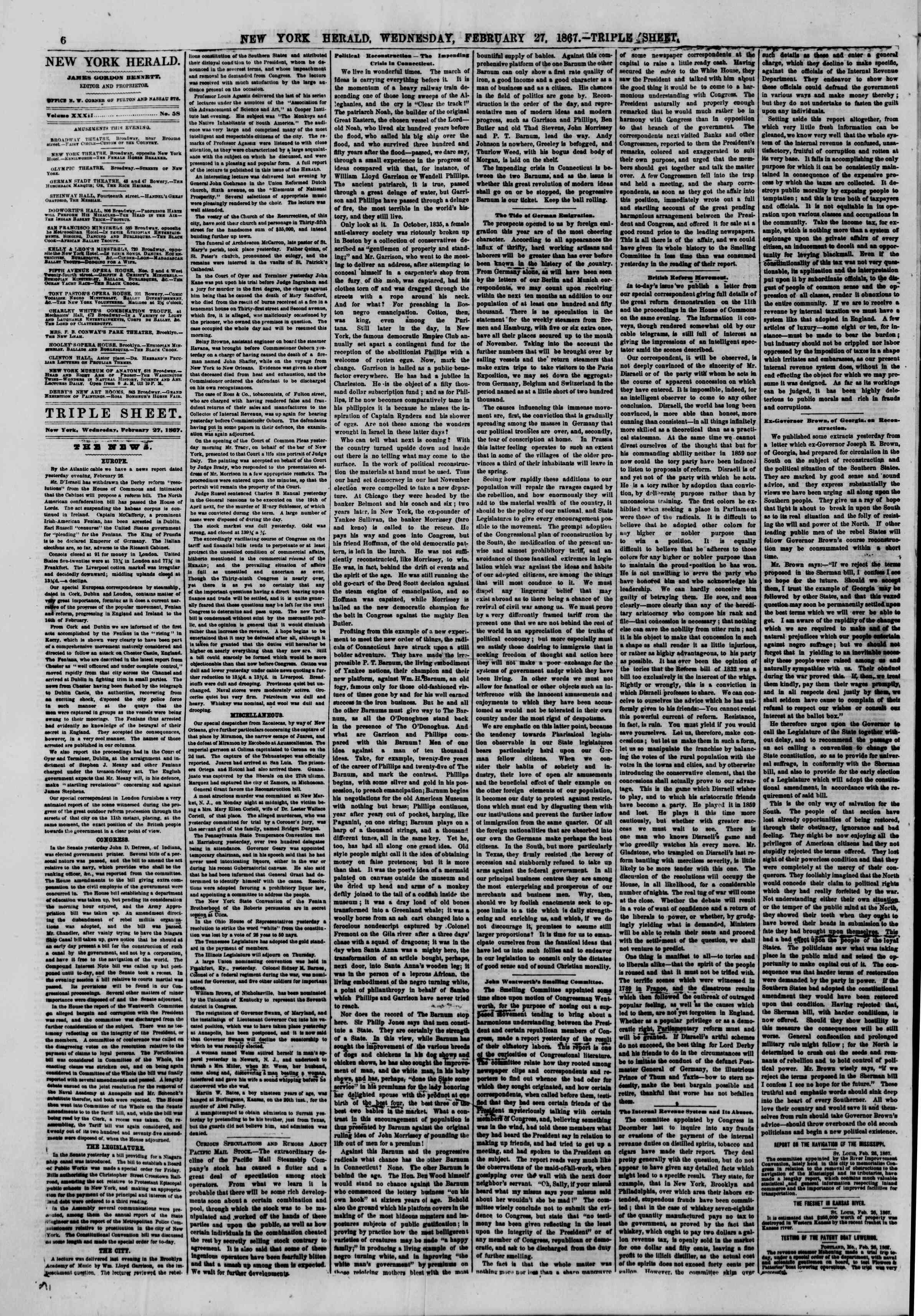 Newspaper of The New York Herald dated February 27, 1867 Page 6