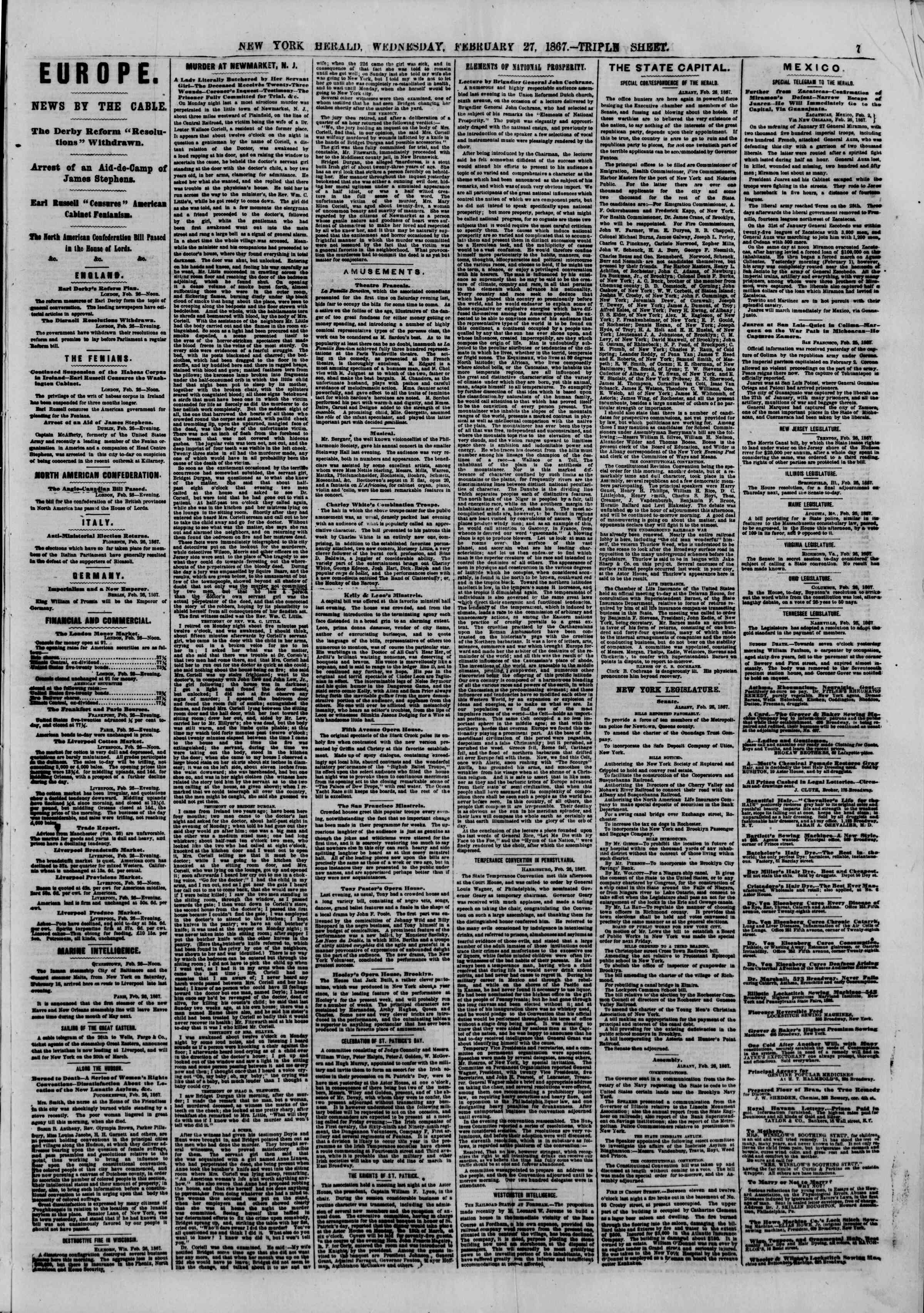 Newspaper of The New York Herald dated February 27, 1867 Page 7