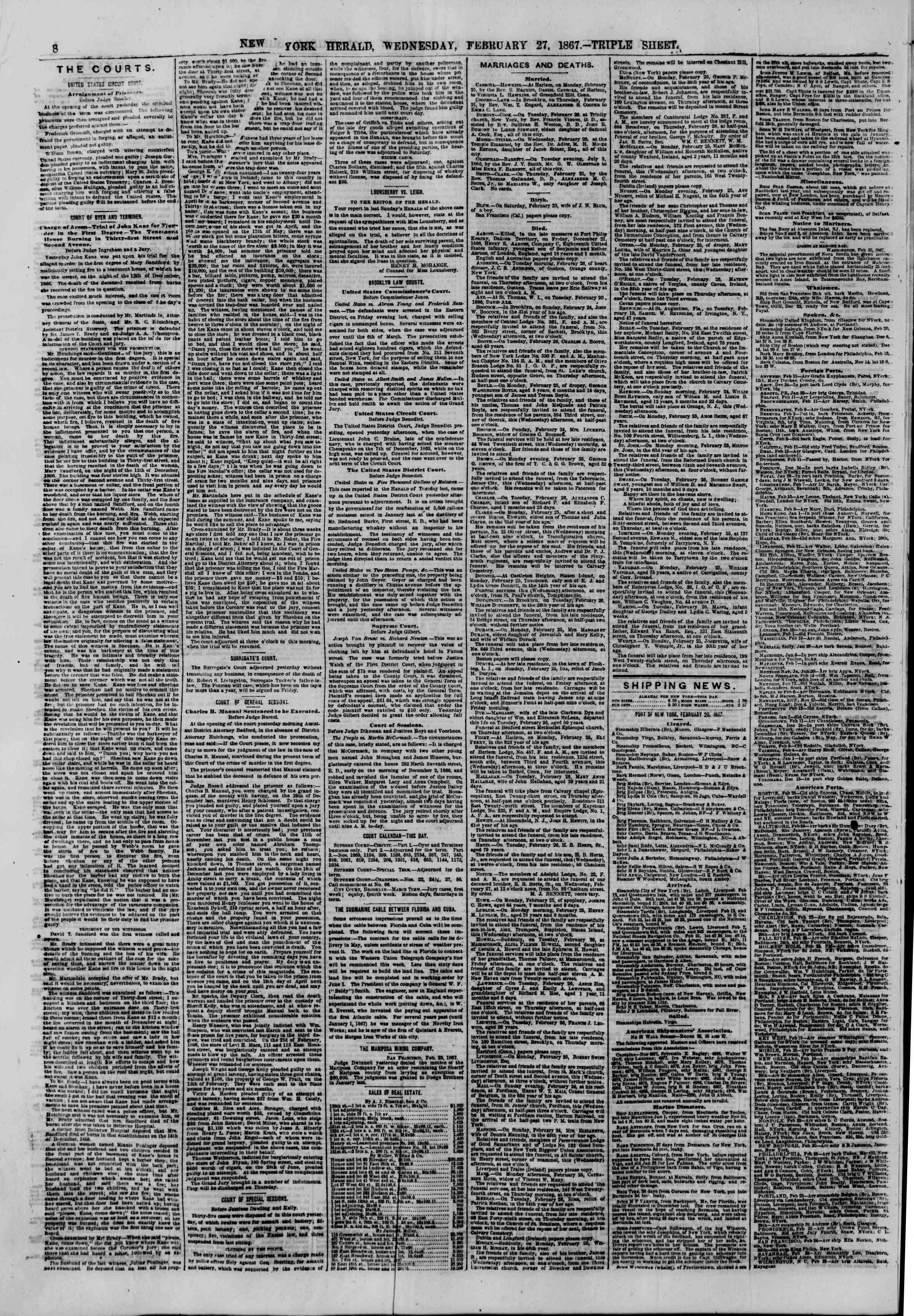 Newspaper of The New York Herald dated February 27, 1867 Page 8