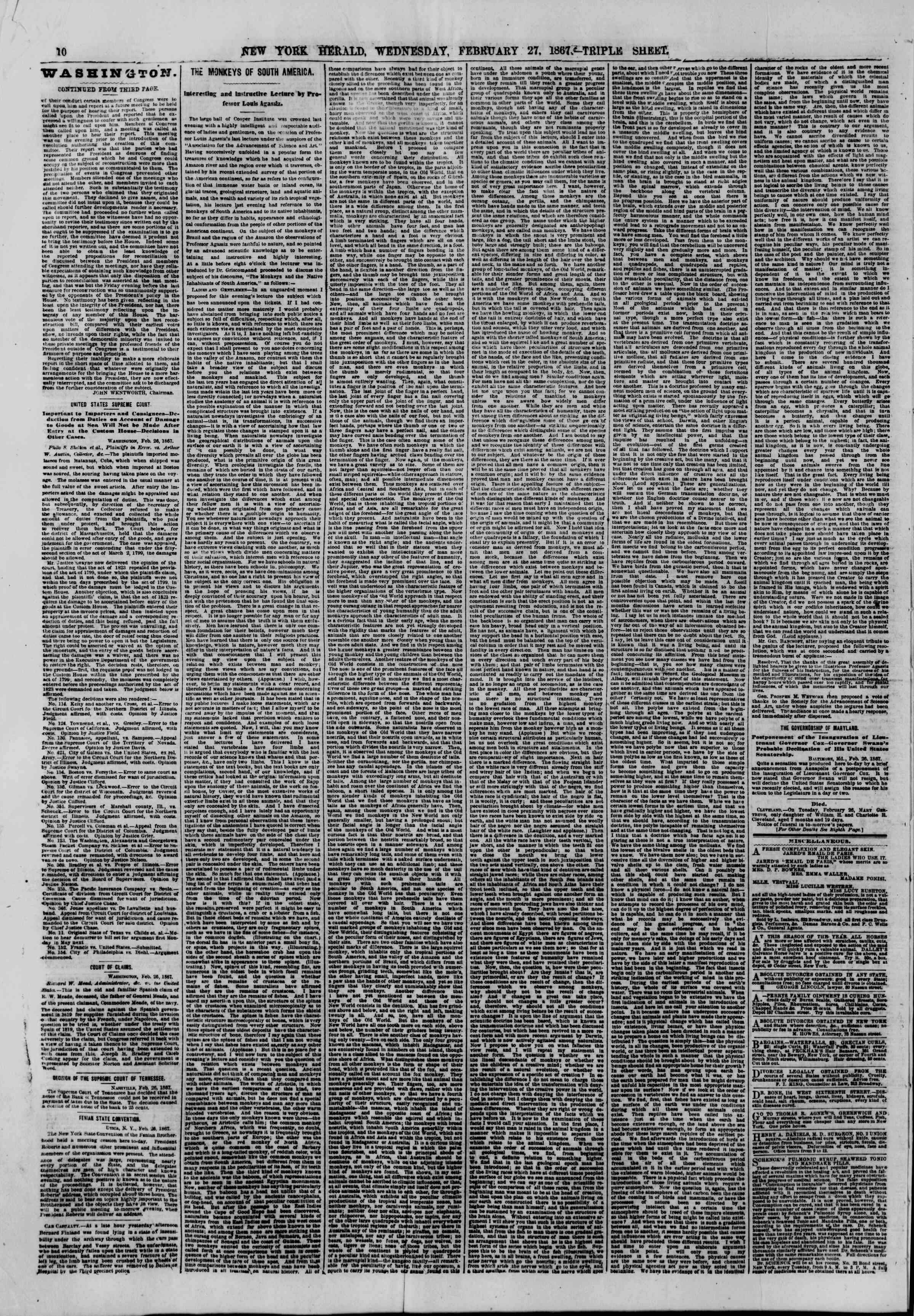 Newspaper of The New York Herald dated February 27, 1867 Page 10