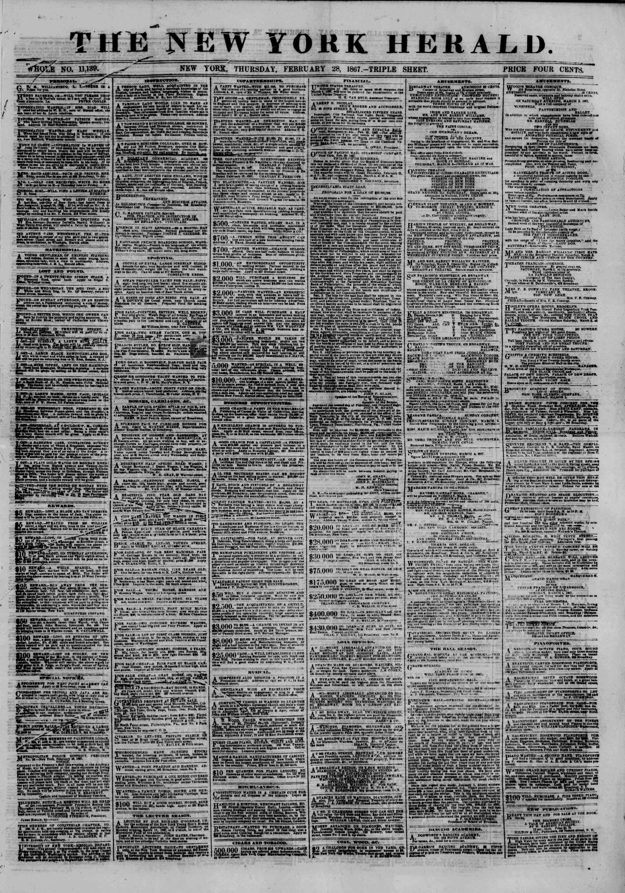Newspaper of The New York Herald dated February 28, 1867 Page 1