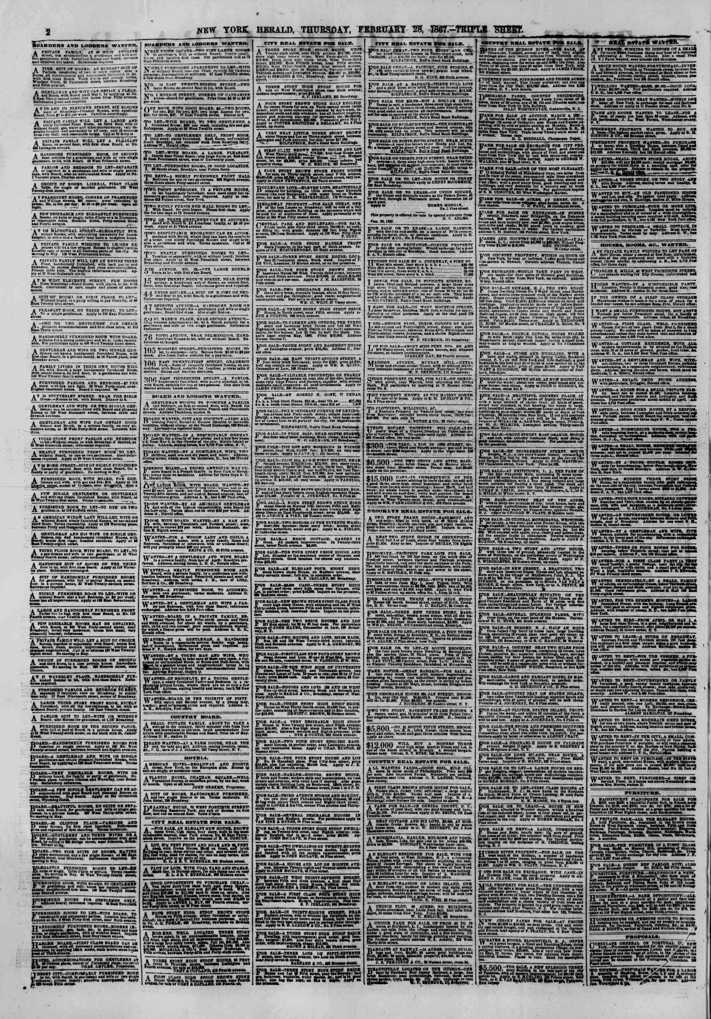 Newspaper of The New York Herald dated February 28, 1867 Page 2
