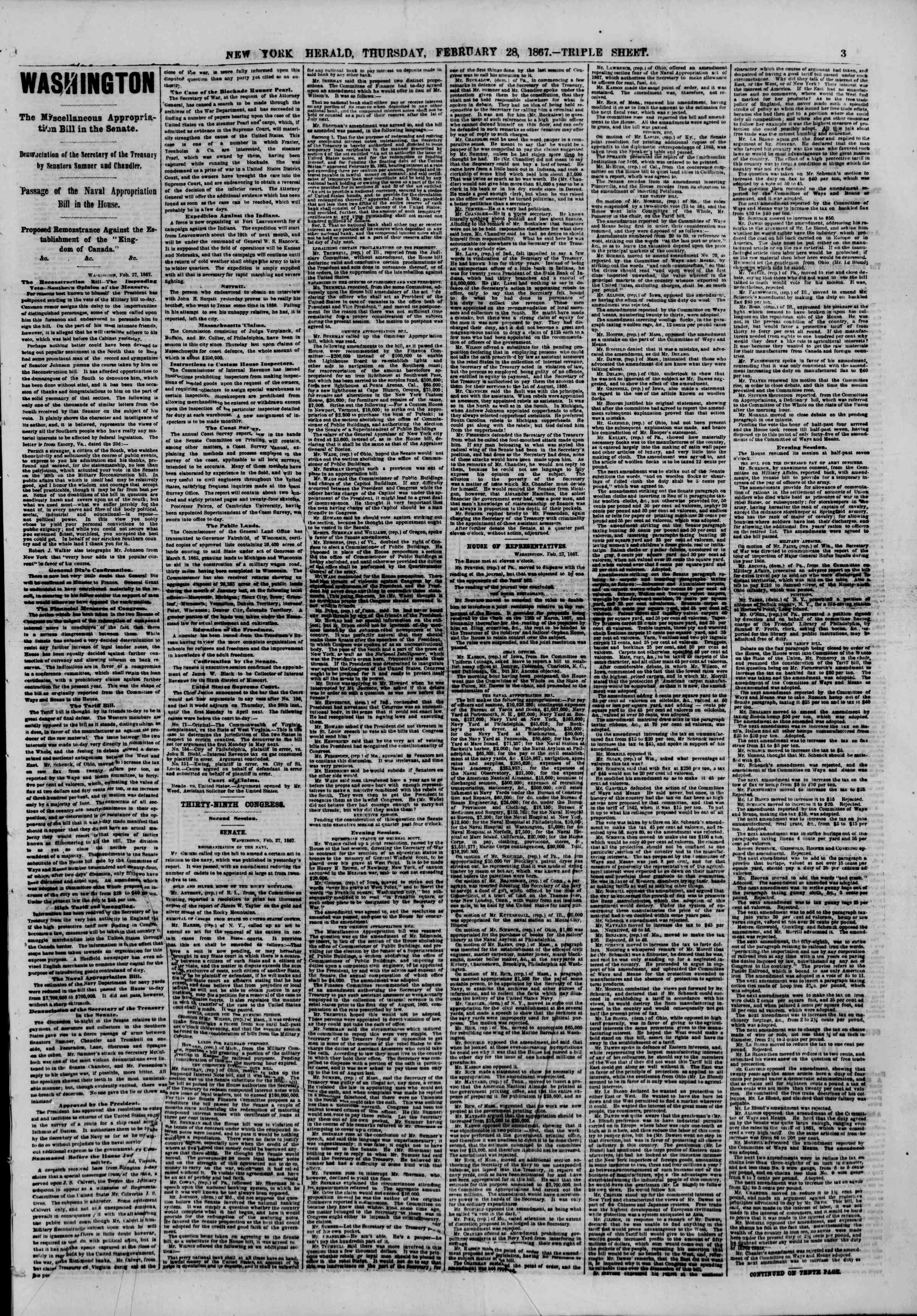 Newspaper of The New York Herald dated February 28, 1867 Page 3