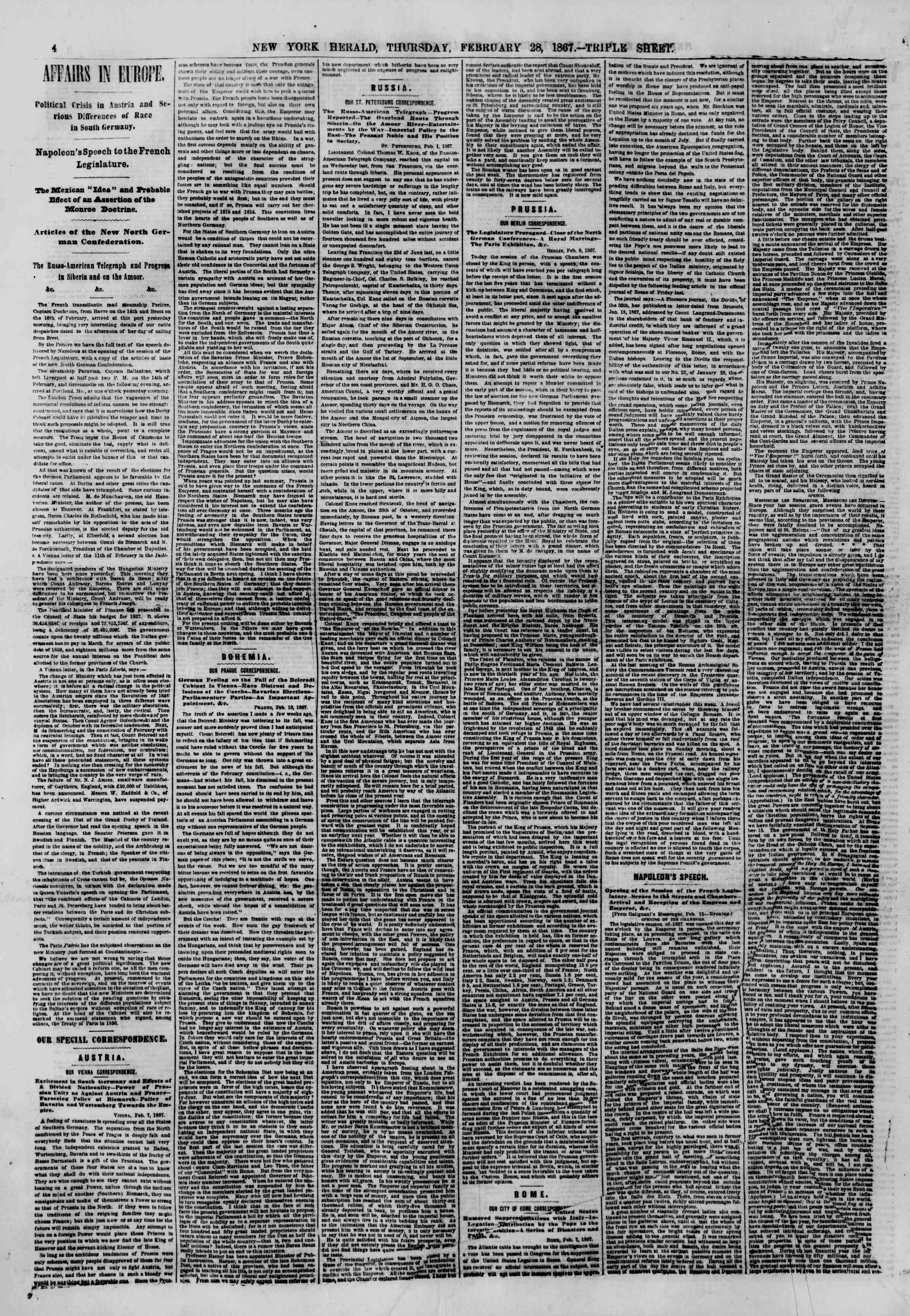 Newspaper of The New York Herald dated February 28, 1867 Page 4