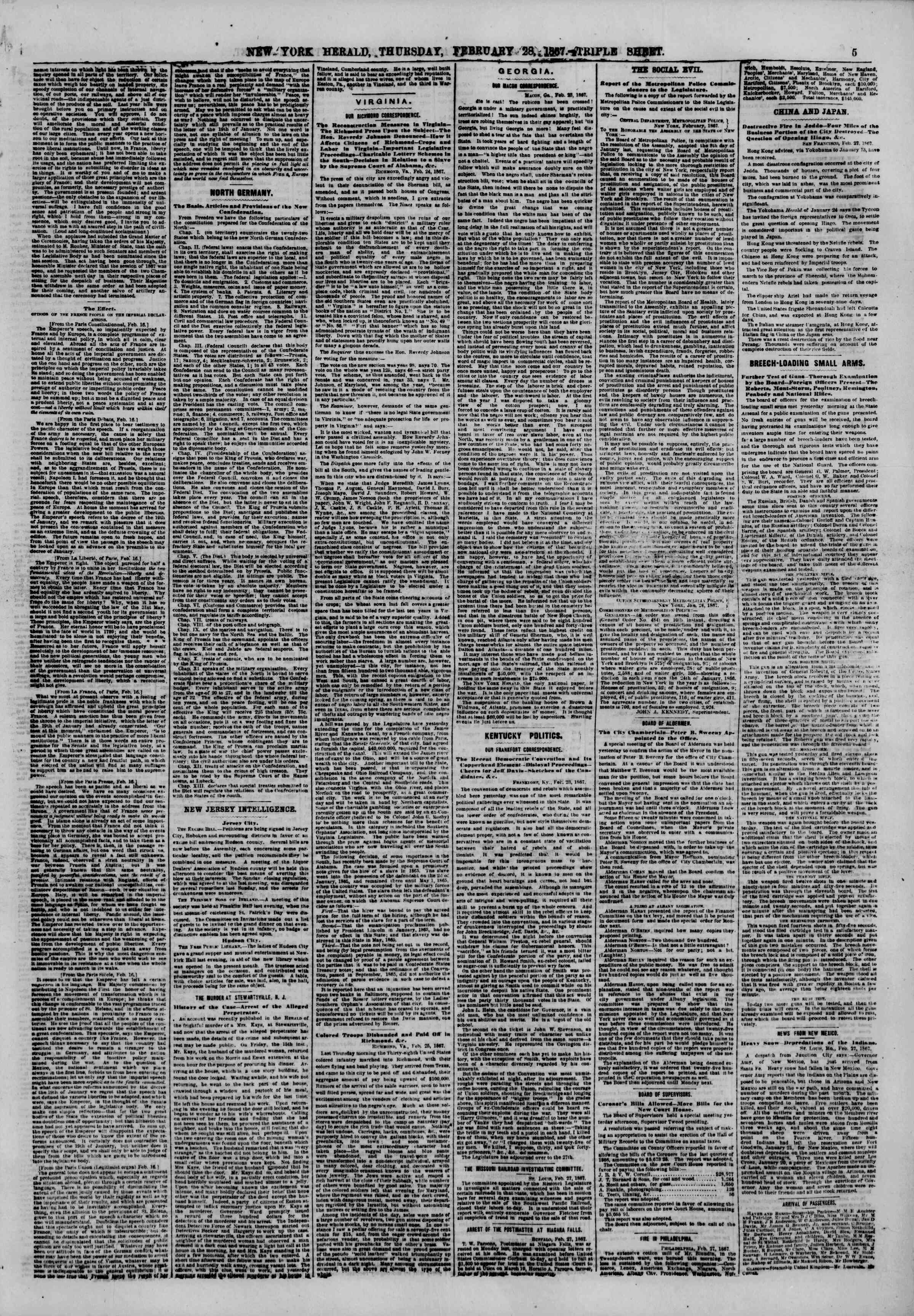 Newspaper of The New York Herald dated February 28, 1867 Page 5