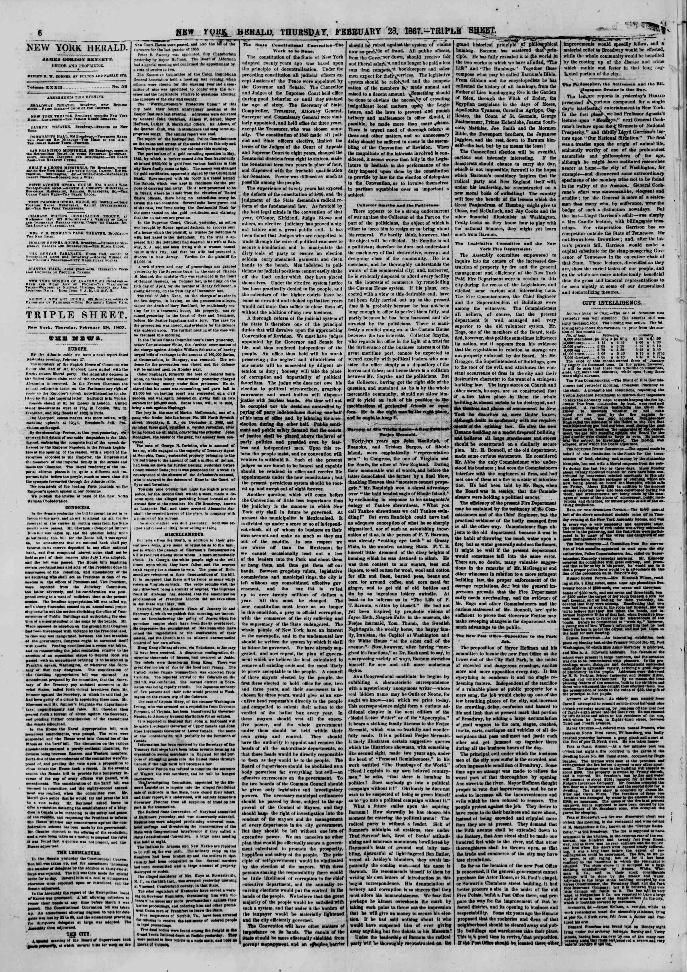 Newspaper of The New York Herald dated February 28, 1867 Page 6