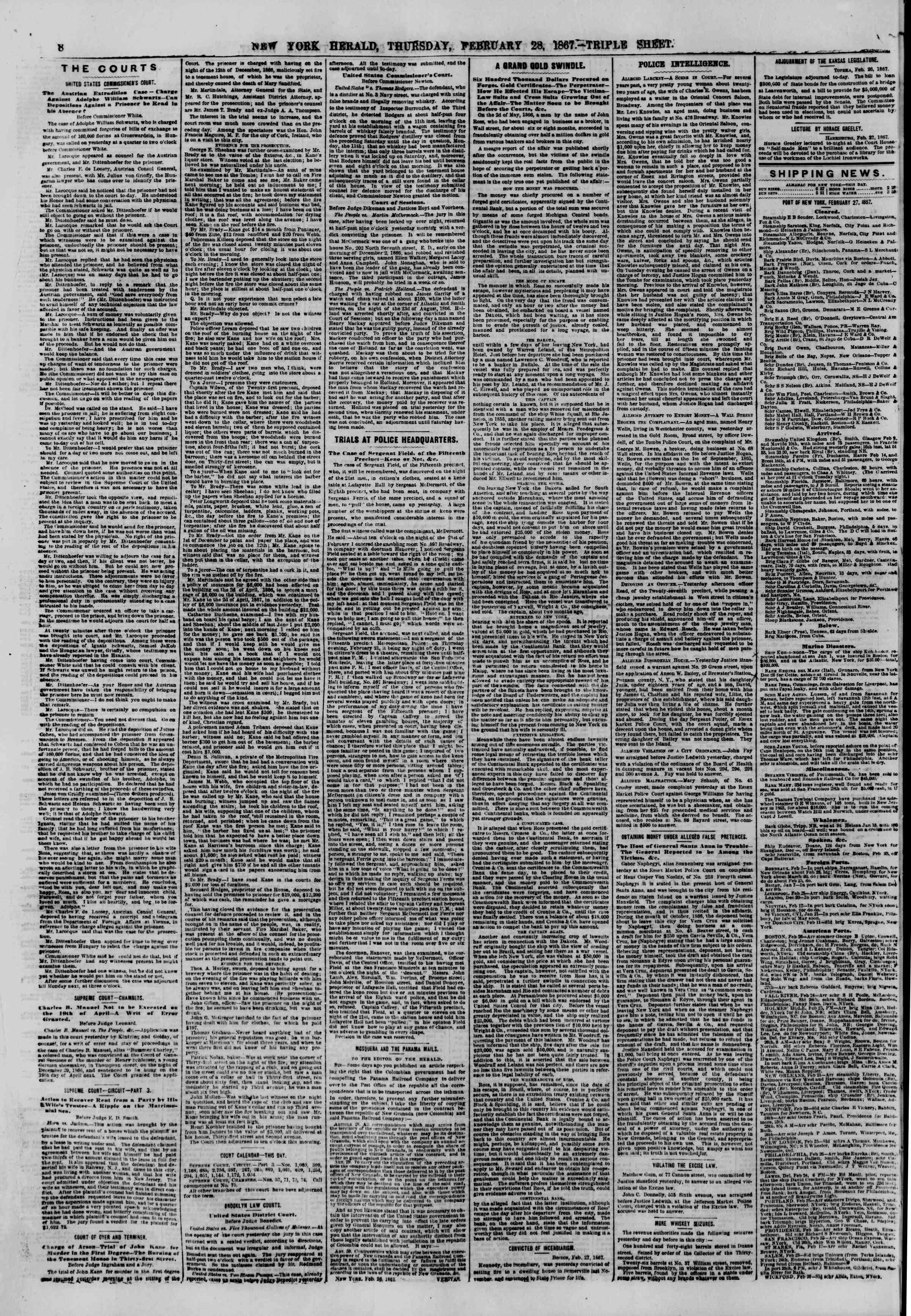 Newspaper of The New York Herald dated February 28, 1867 Page 8