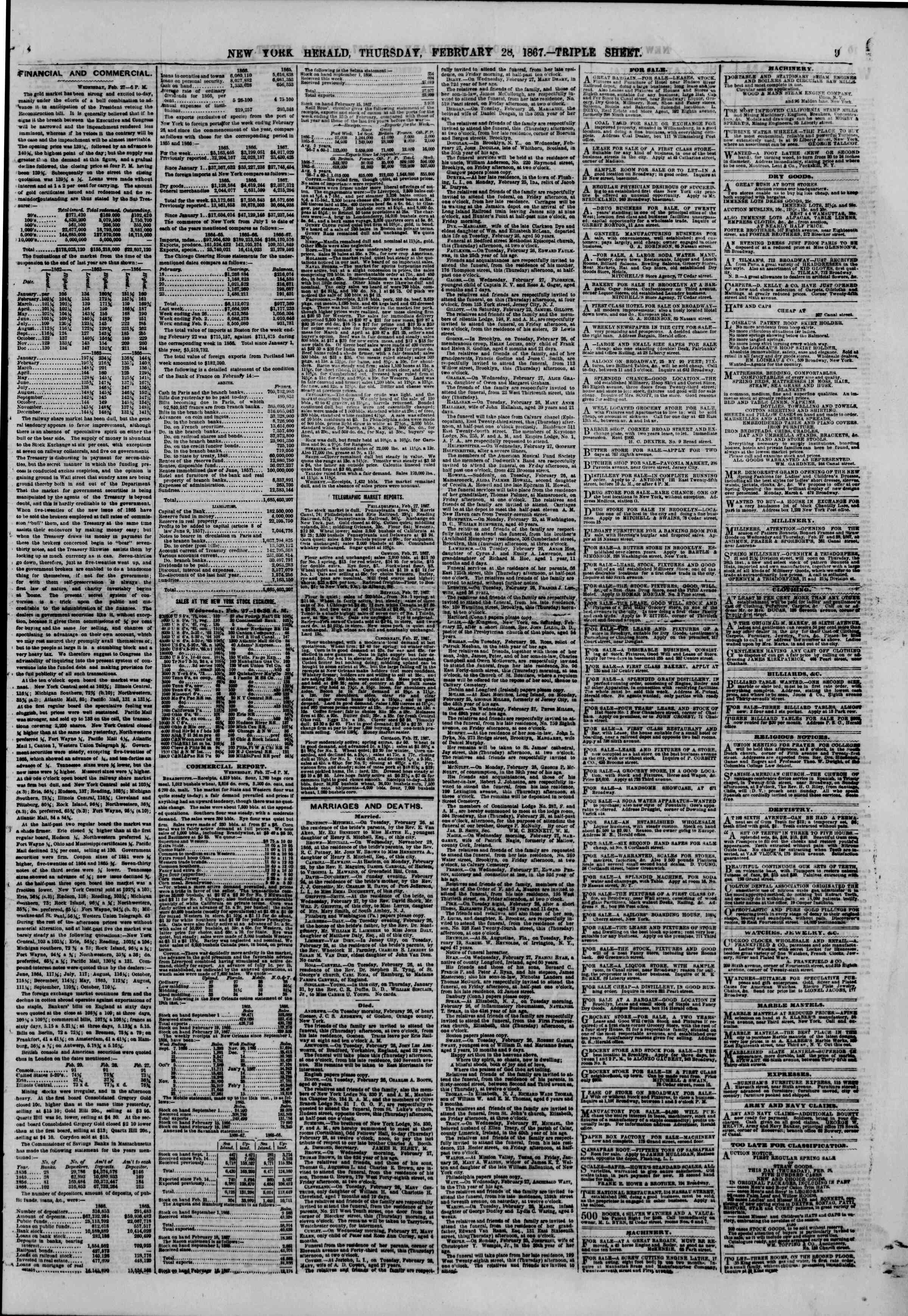 Newspaper of The New York Herald dated February 28, 1867 Page 9